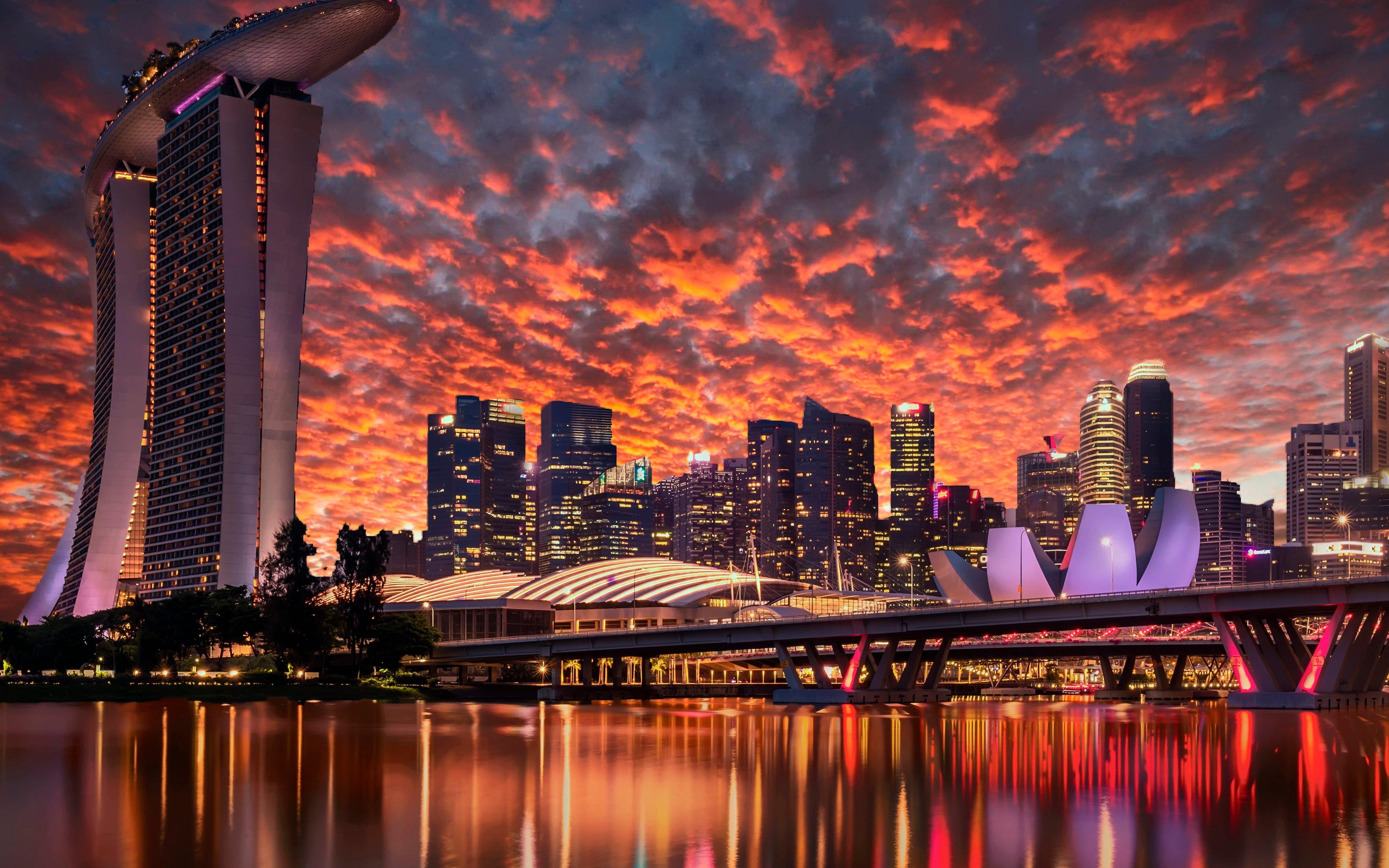 Fondos de pantalla Rascacielos de en la marina Singapur