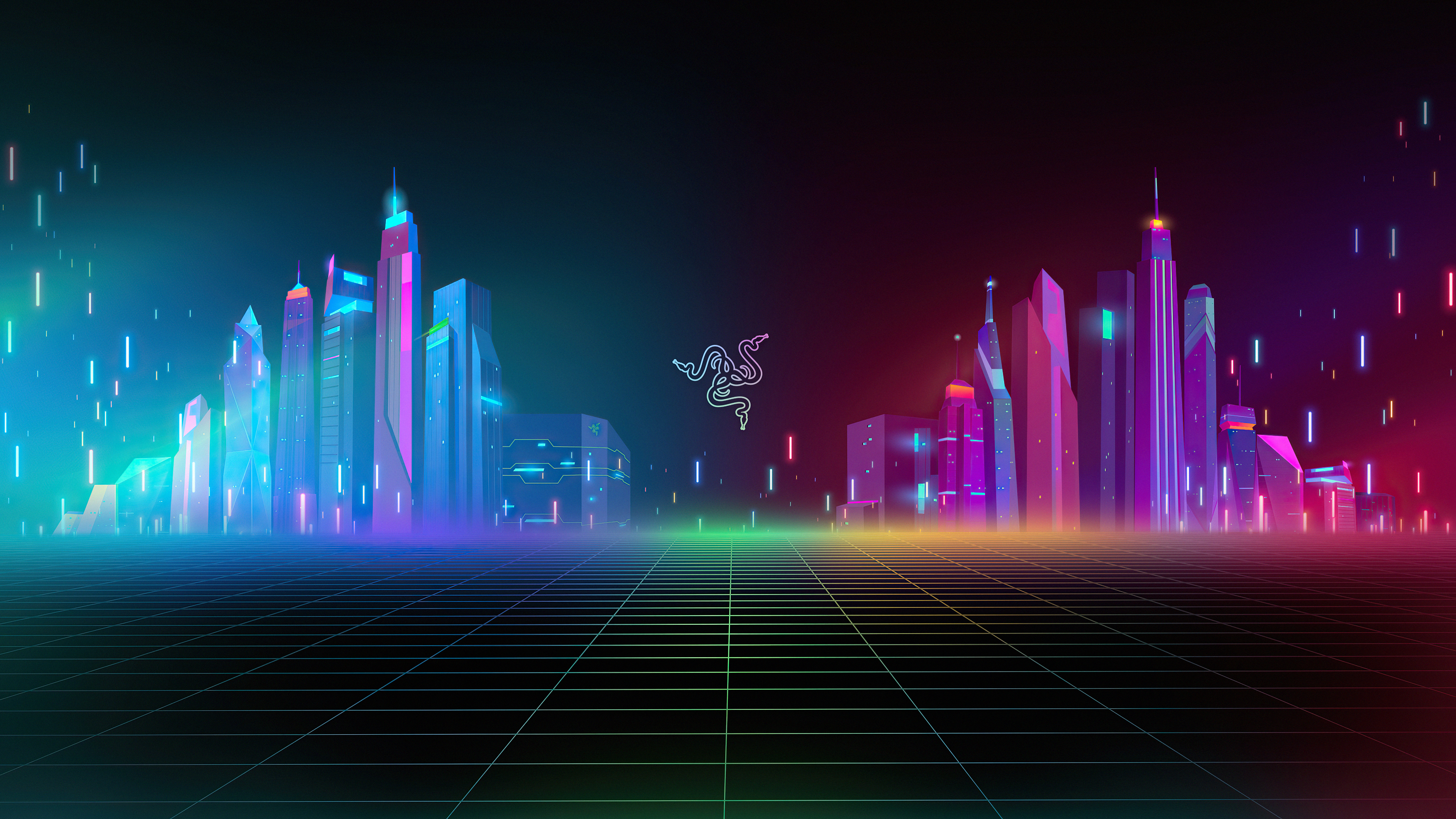 Fondos de pantalla Razer logo con edificios