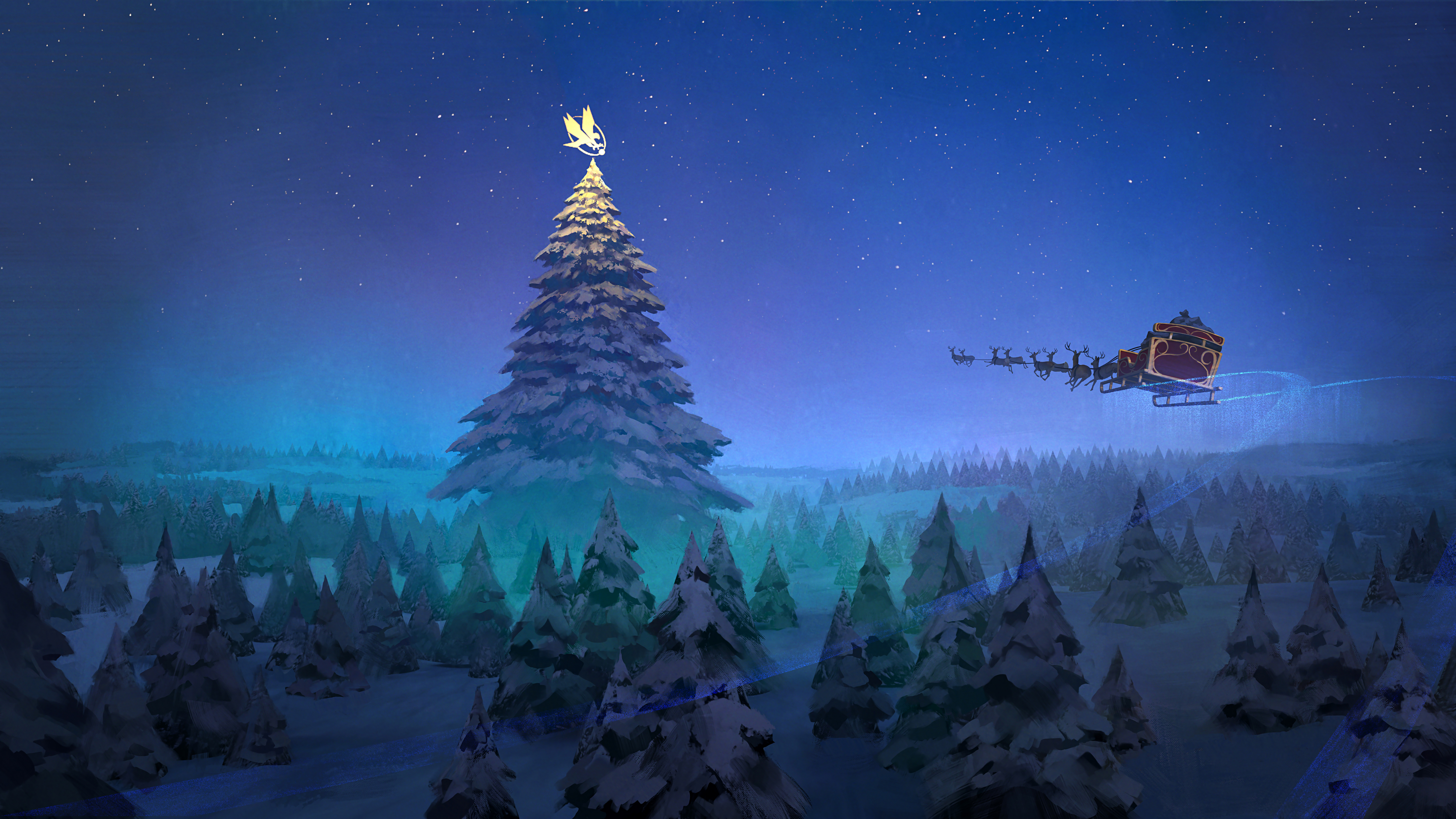 Wallpaper Christmas tree with Santa Claus sleigh flying