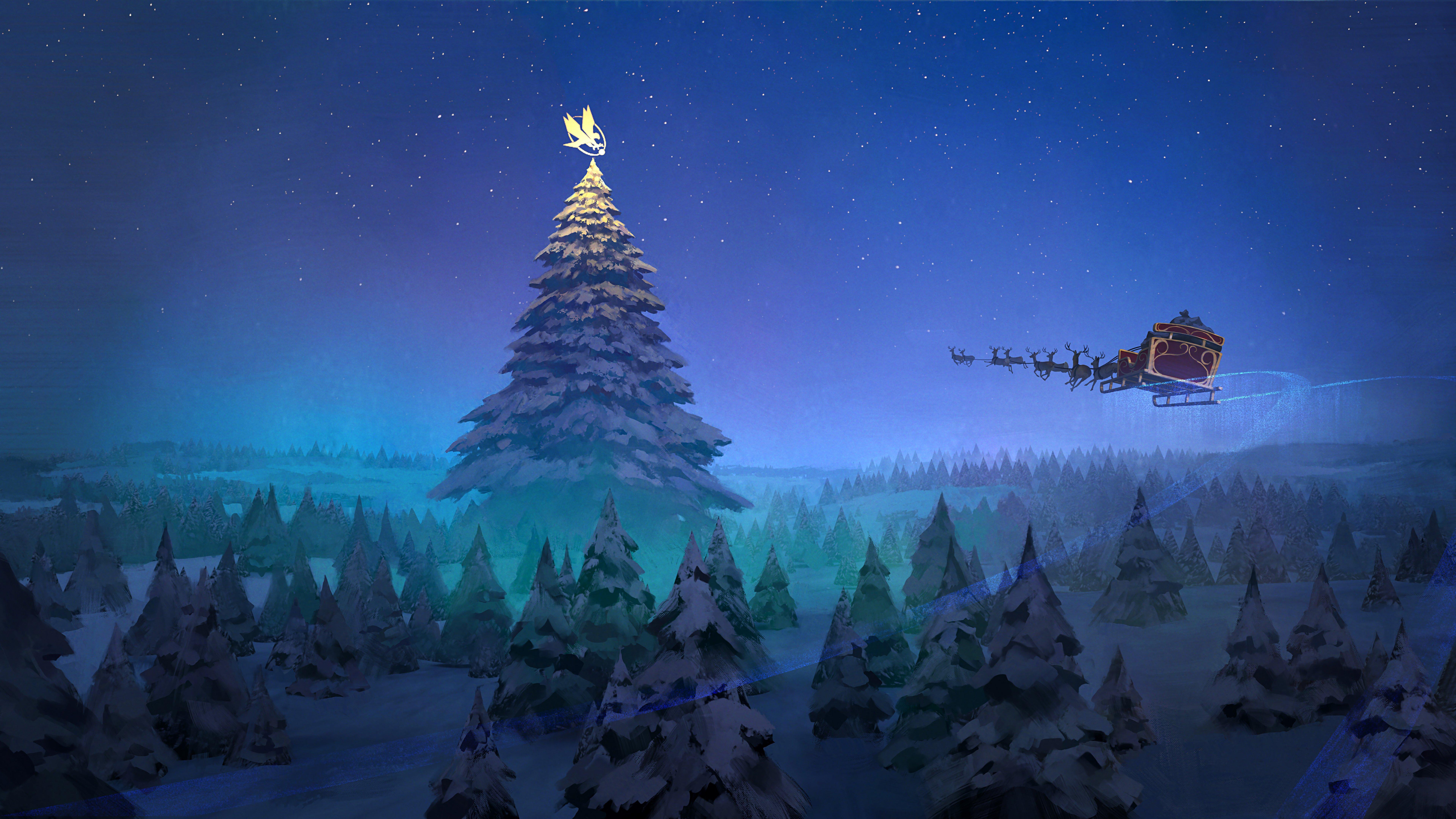 Fondos de pantalla Árbol Navidad con Trineo de Santa Claus Volando