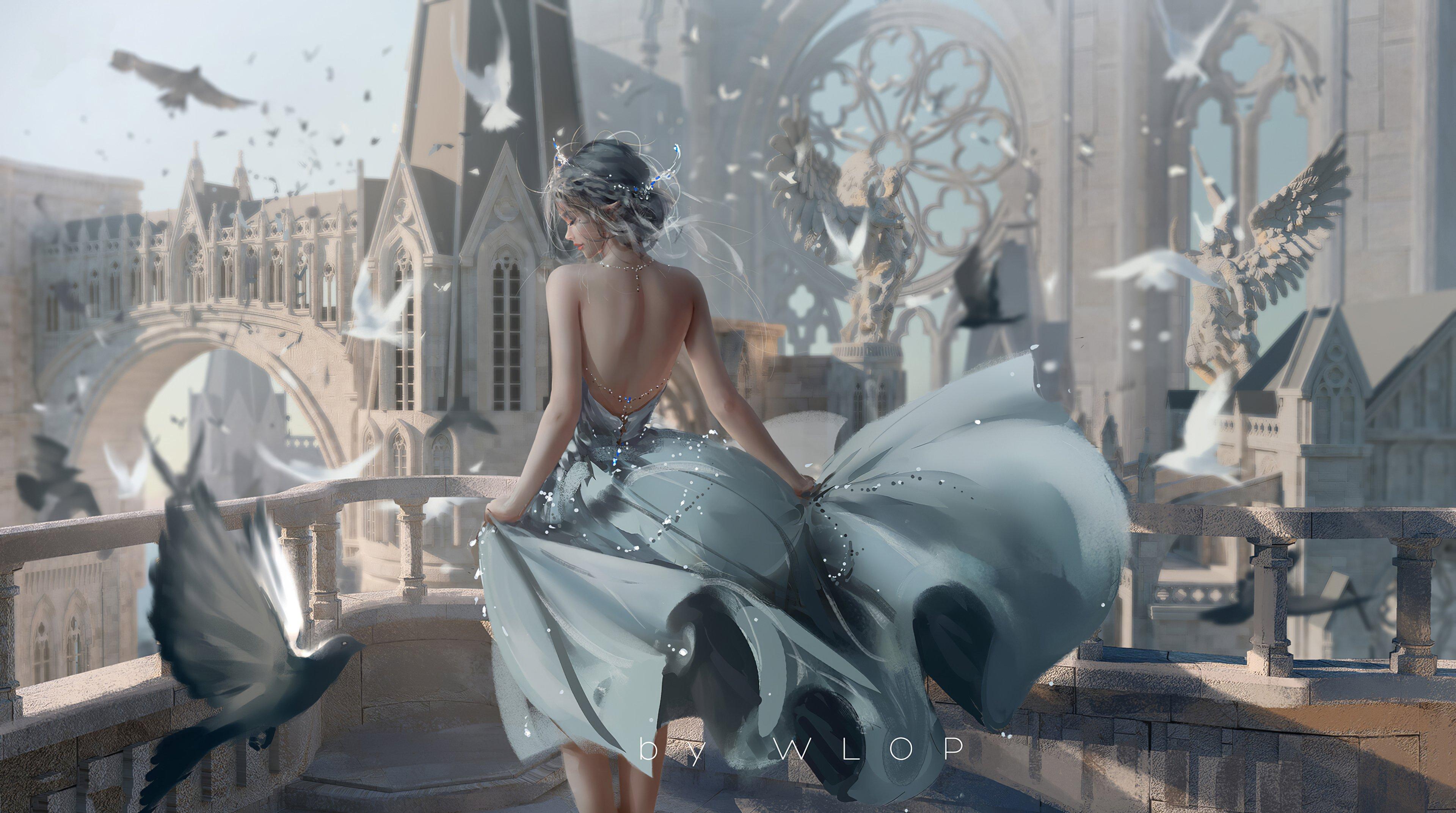 Fondos de pantalla Reina blanca en castillo