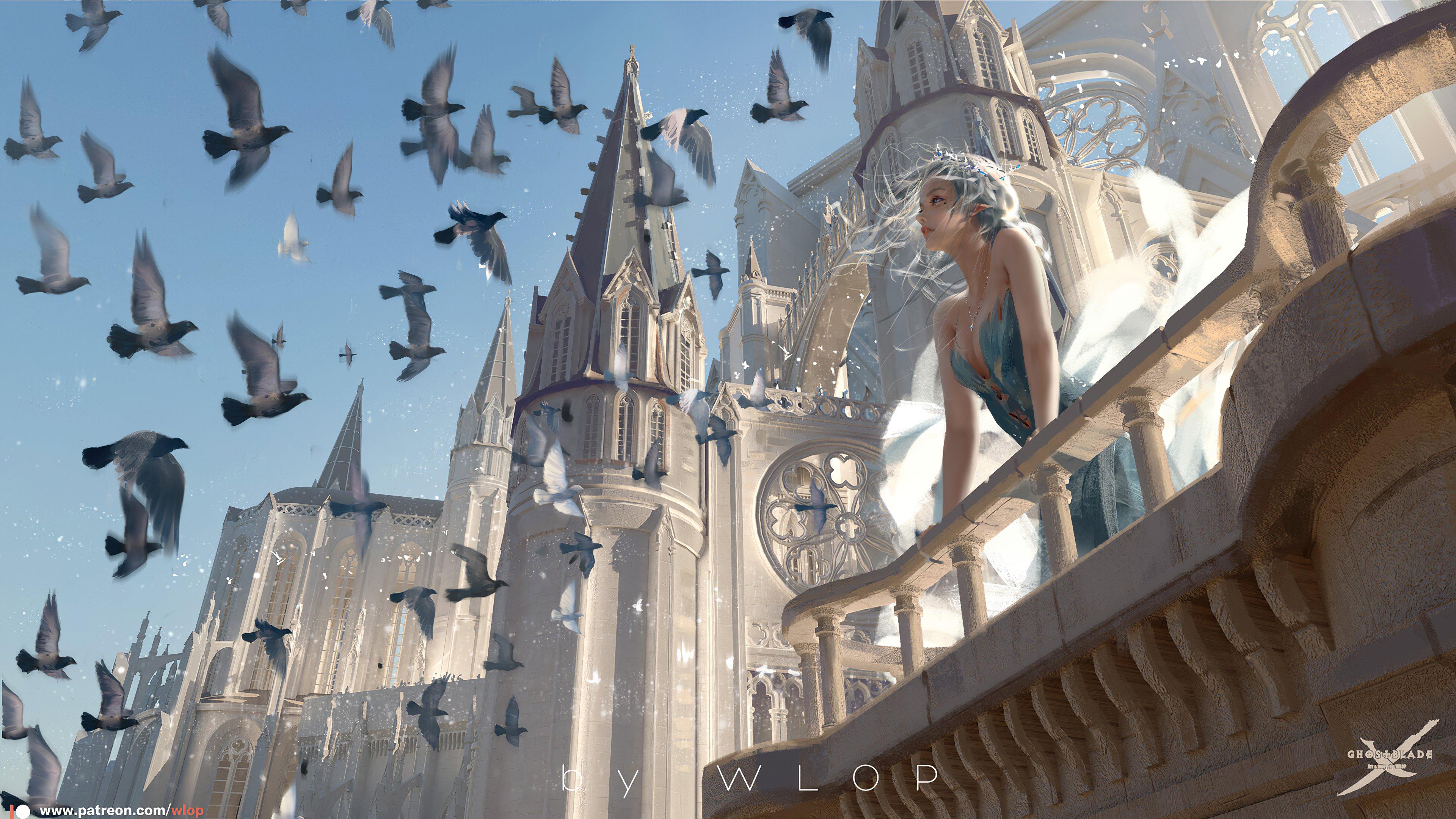 Fondos de pantalla Reina blanca en castillo con aves