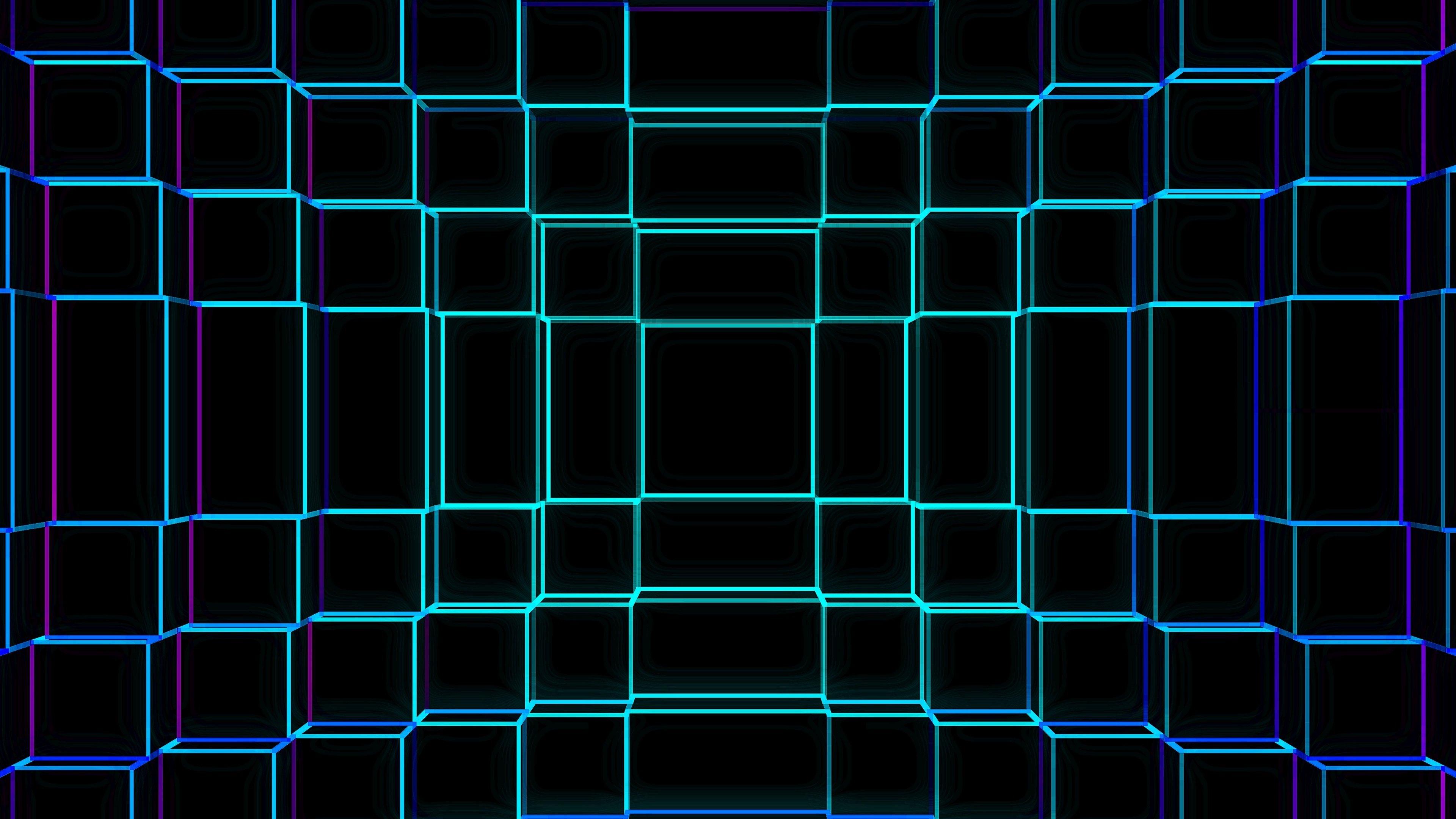 Wallpaper 3D Blue geometric grid