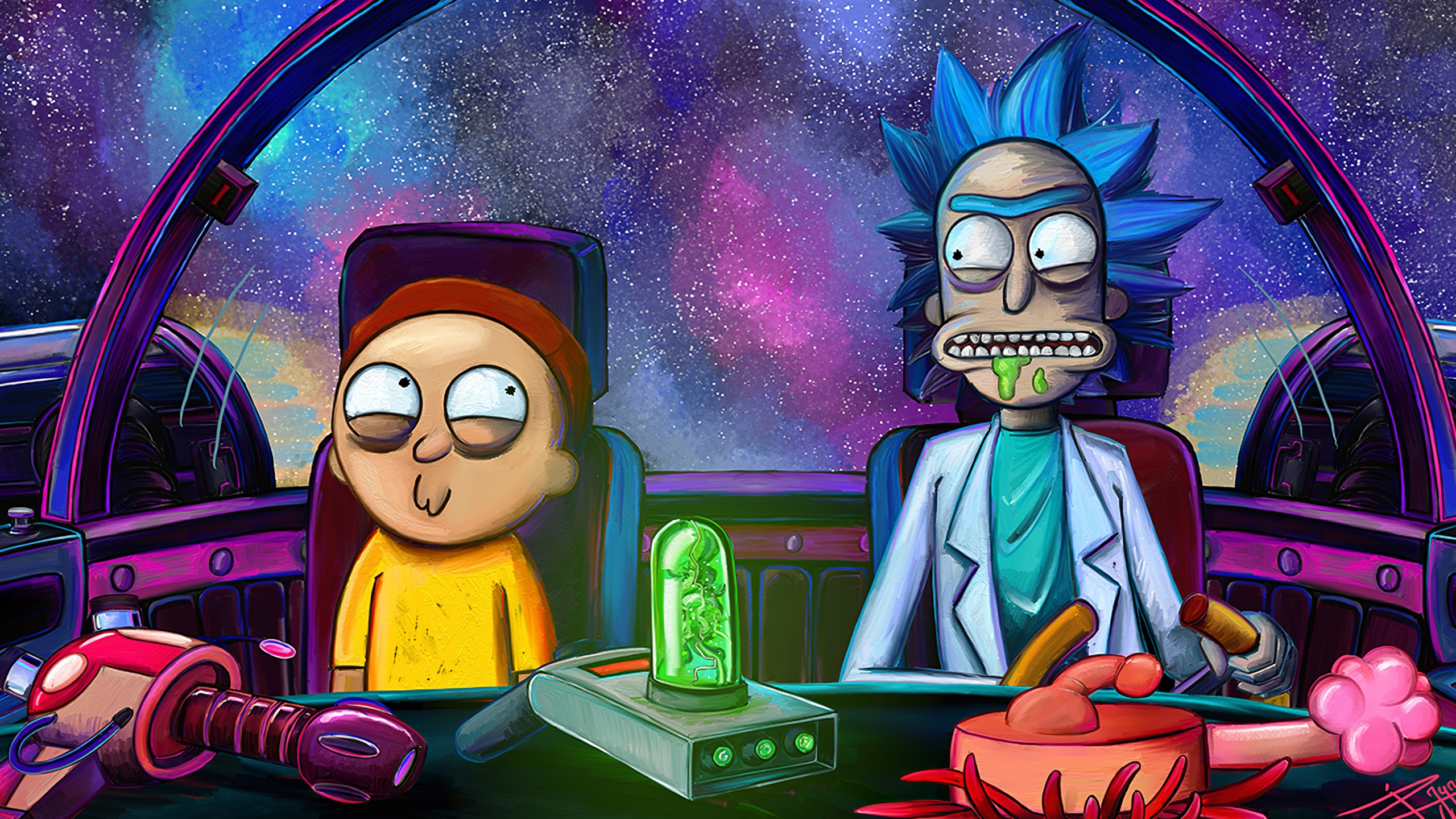 Rick And Morty In Space Ship Wallpaper 4k Ultra Hd Id 4518