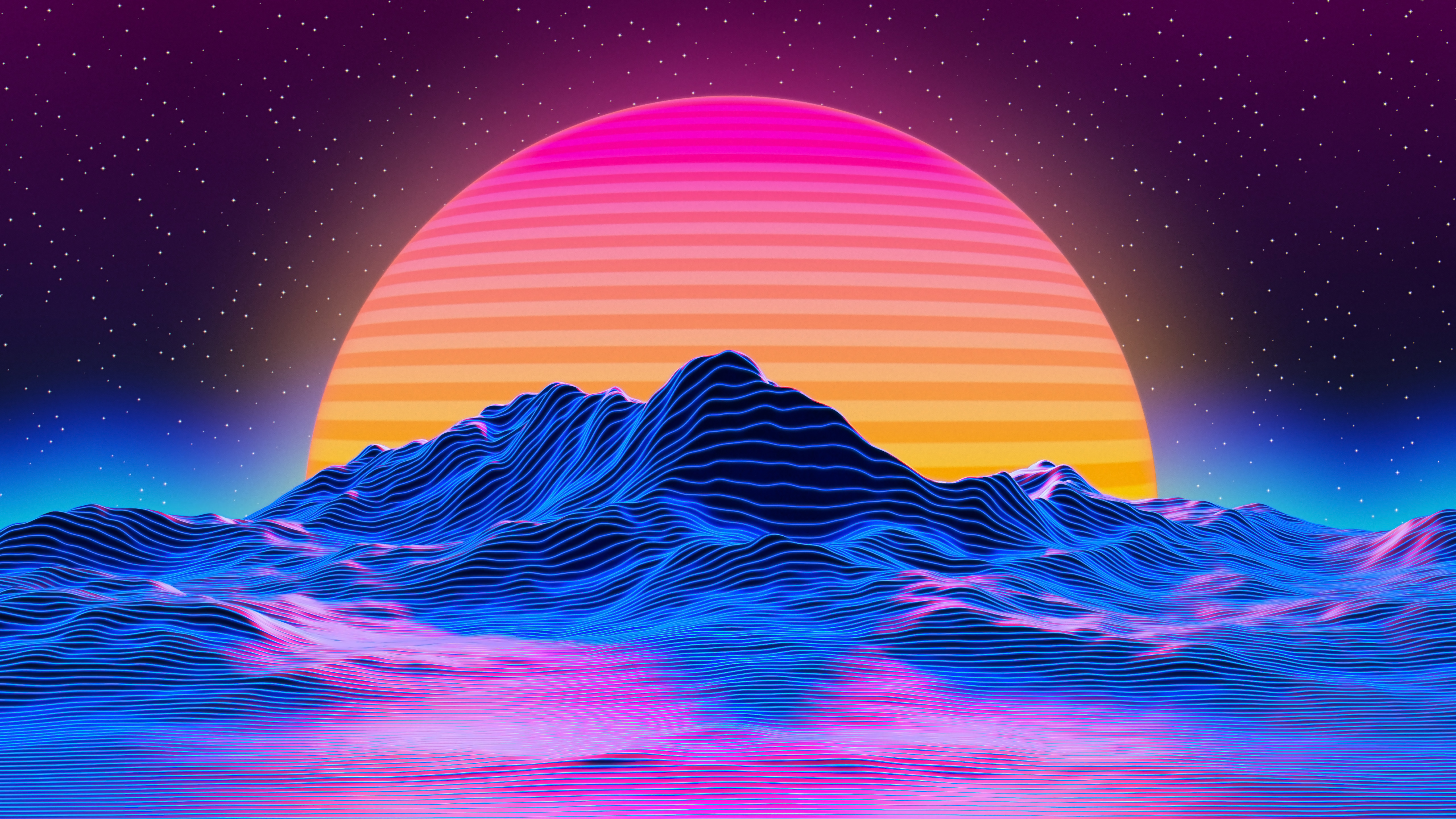 Wallpaper Retrowave mountains of star lines and sun