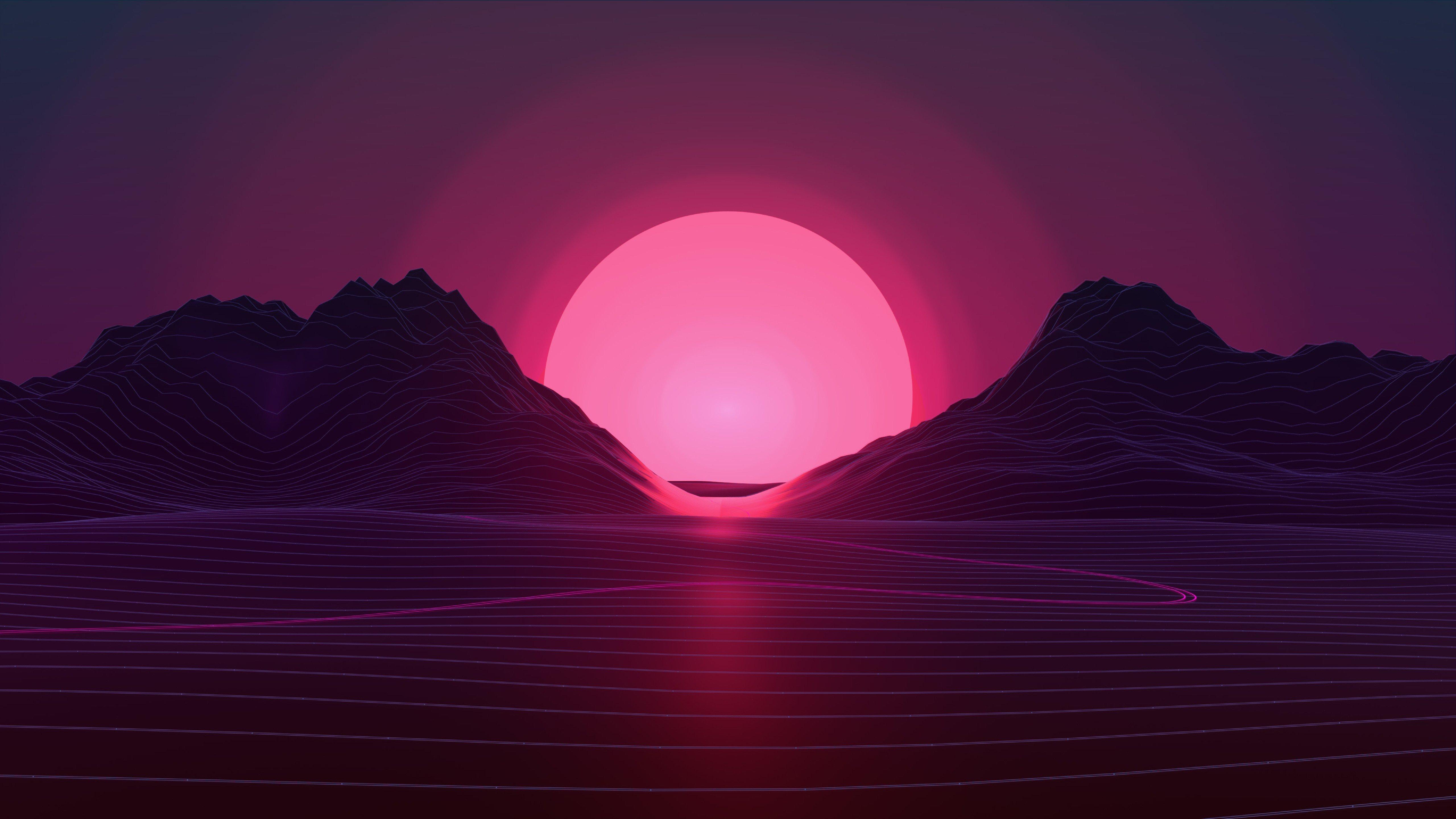 Fondos de pantalla Retrowave Puesta del sol