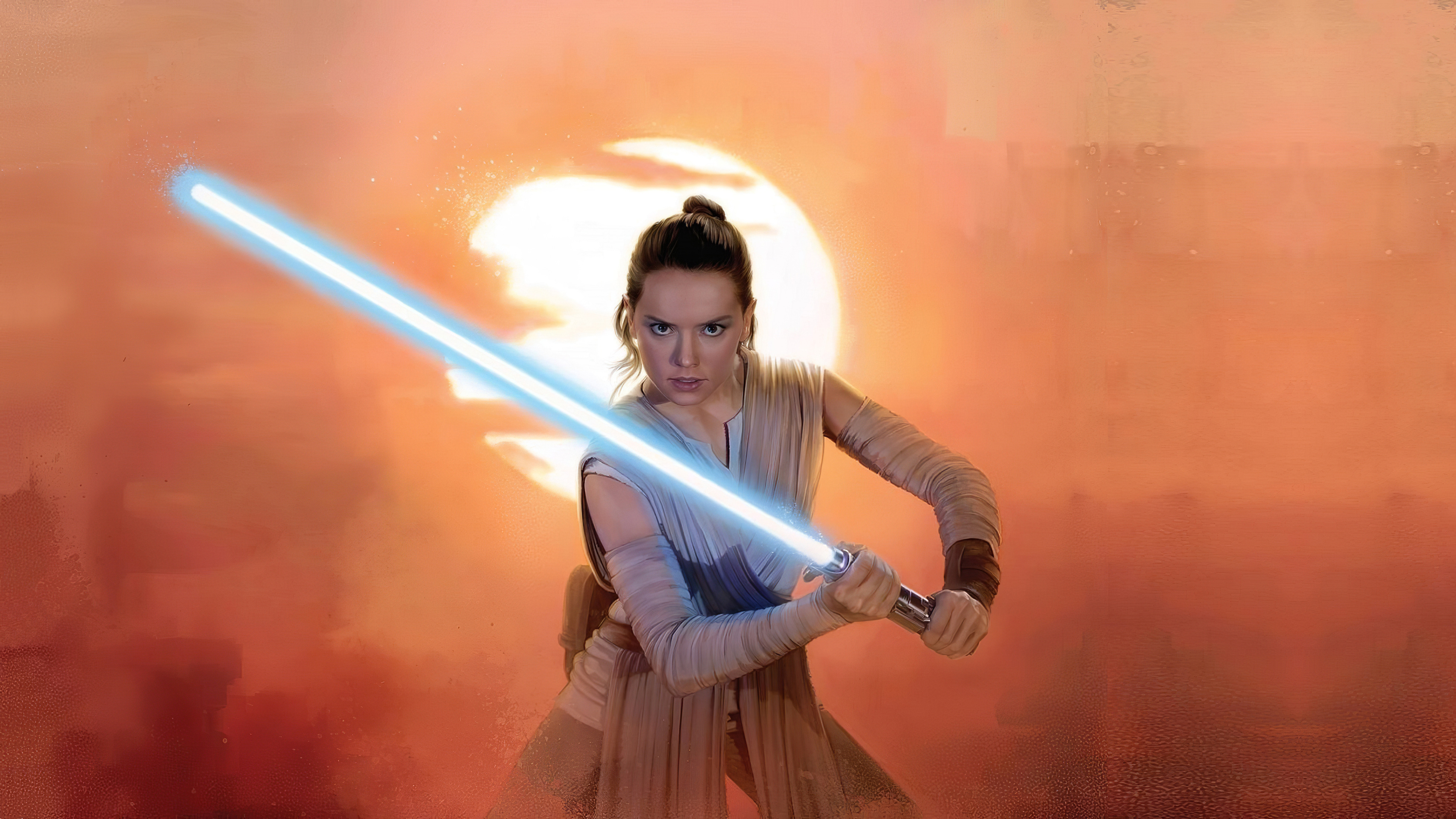 Wallpaper Rey with lightsaver from Star Wars The rise of the skywalker