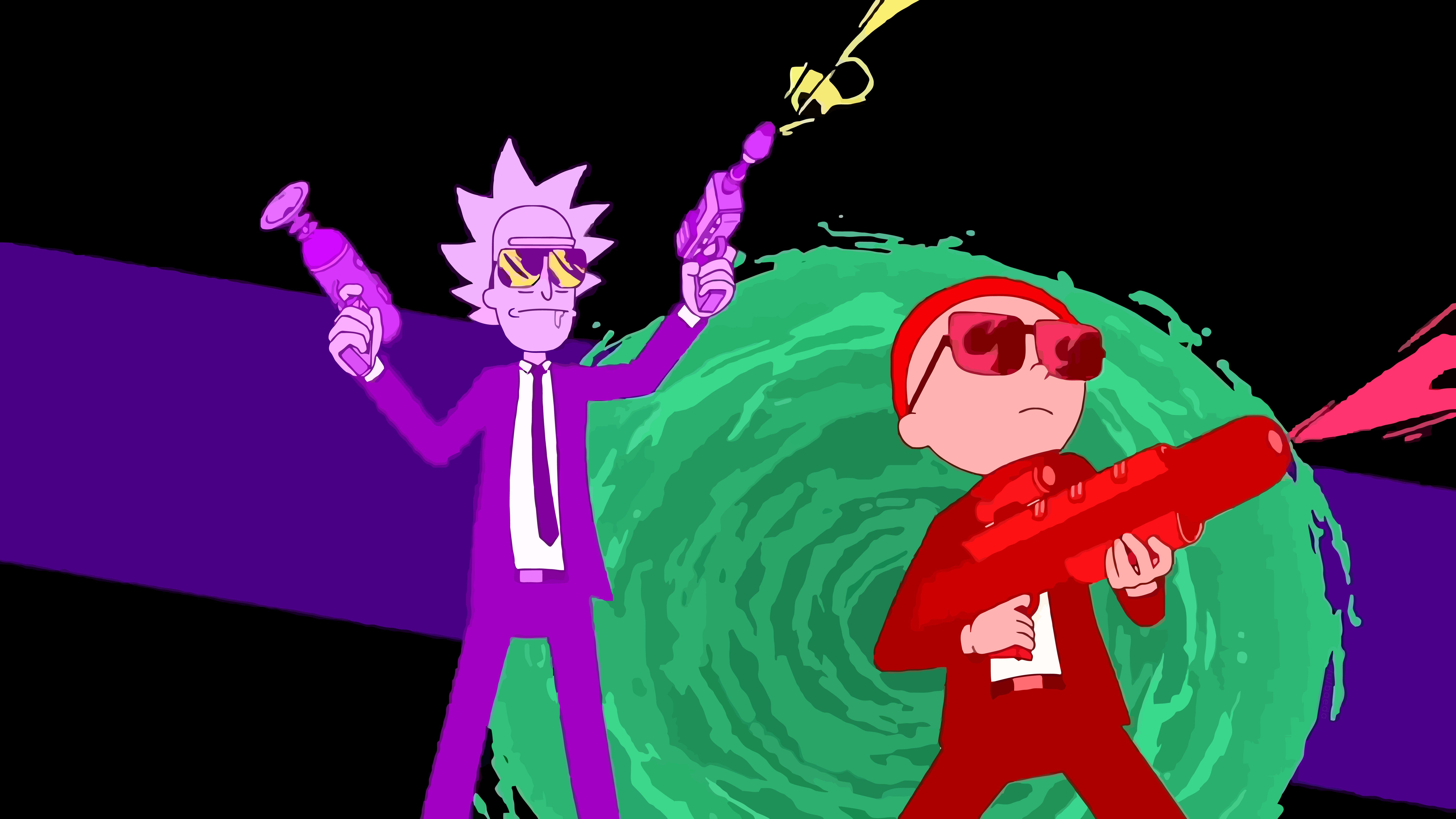Fondos de pantalla Rick y Morty con armas
