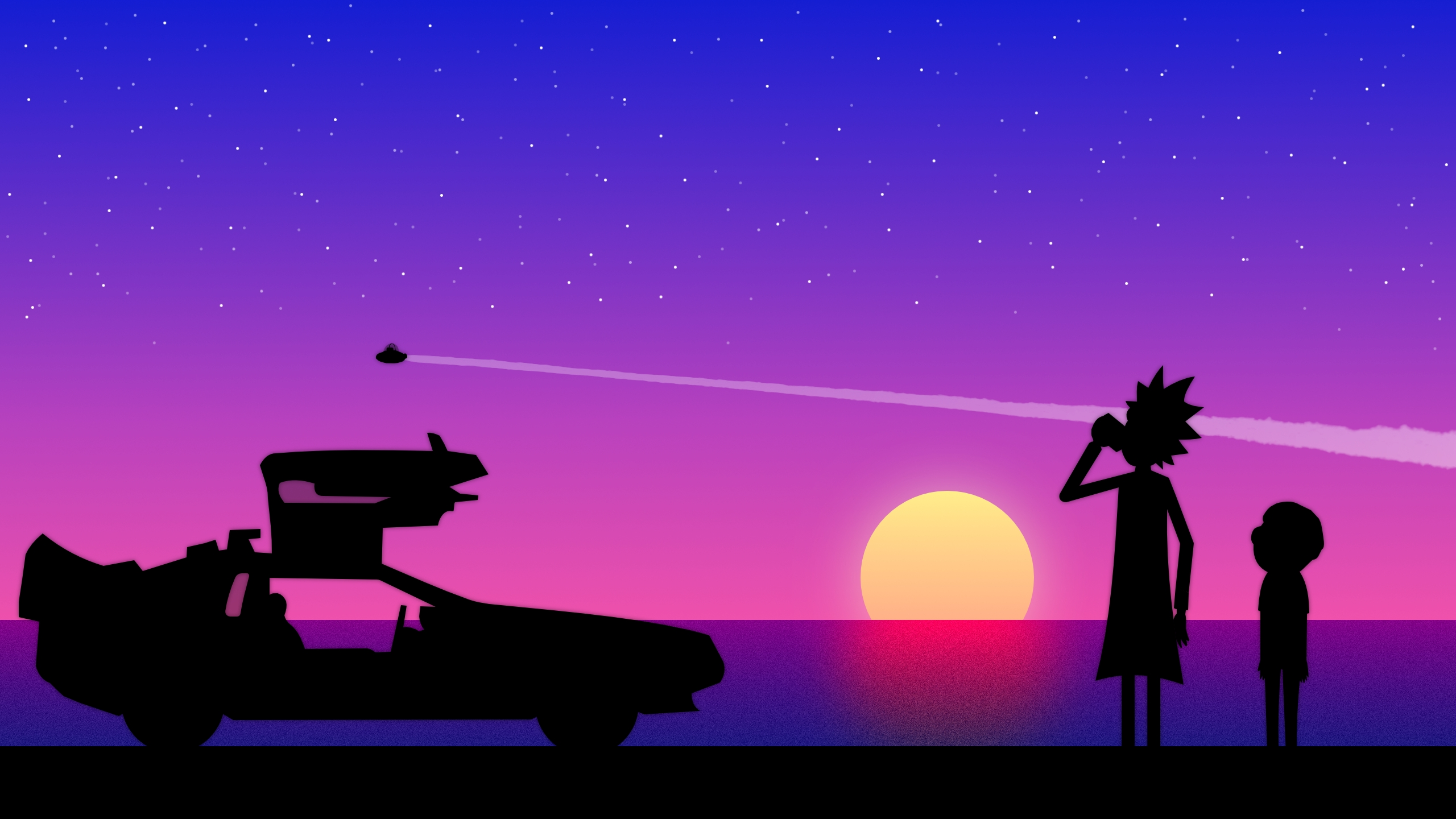 Wallpaper Rick and Morty in sunset