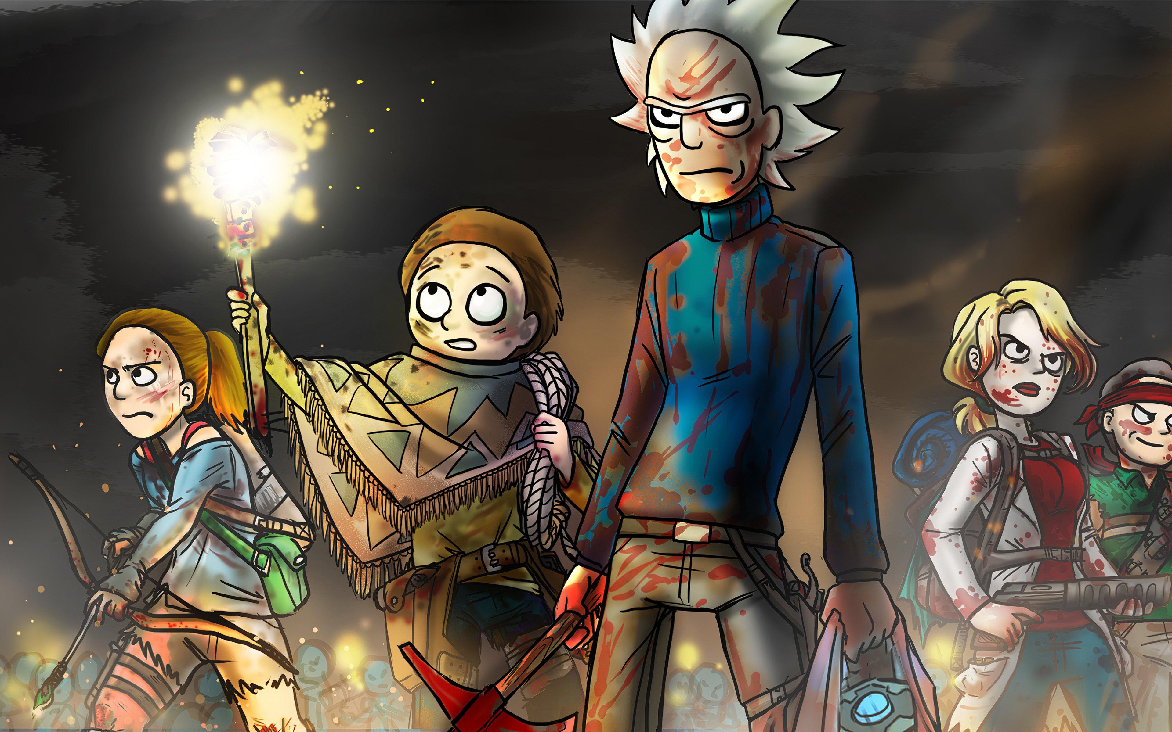Fondos de pantalla Rick y Morty en batalla