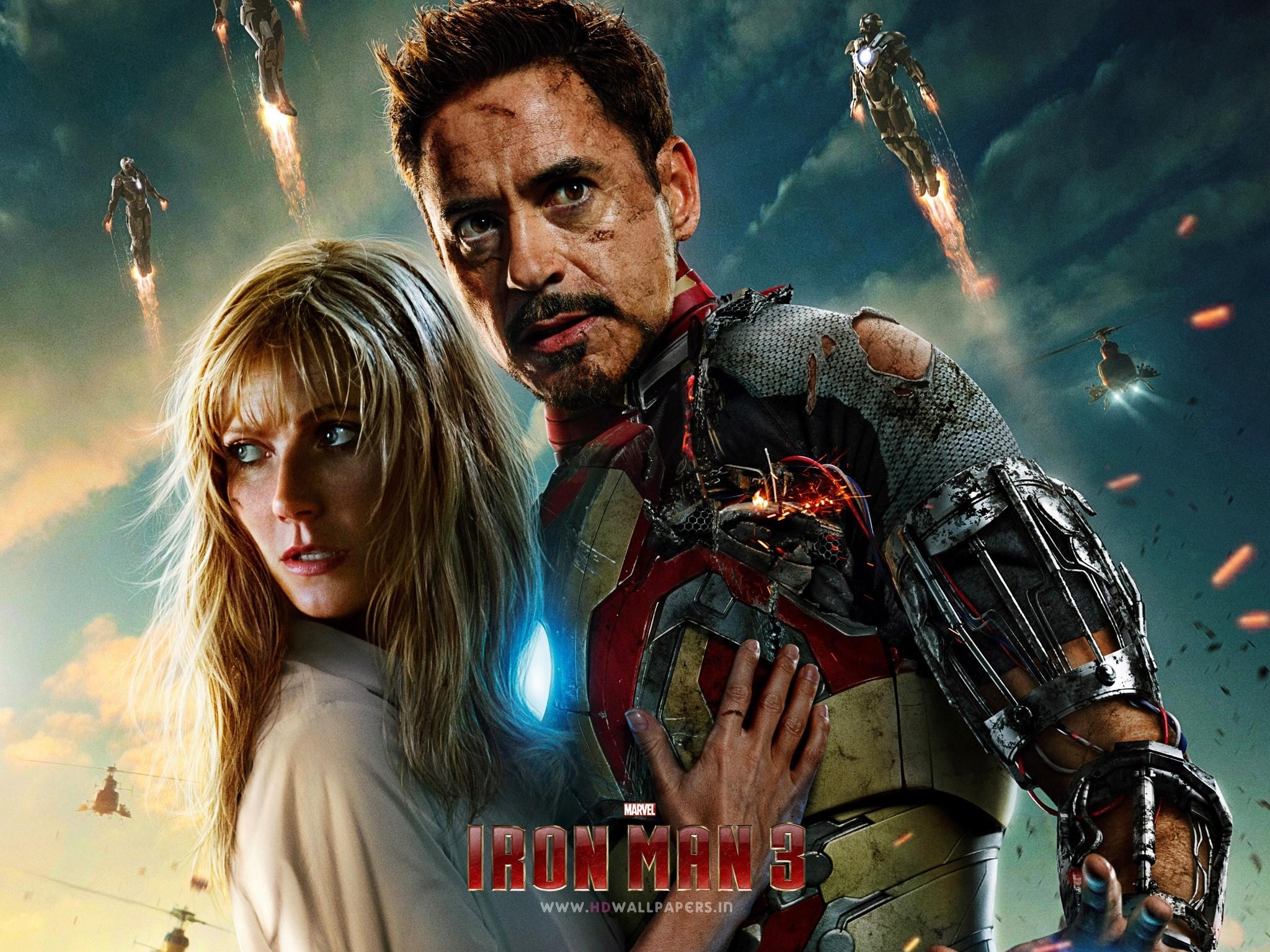 Wallpaper Robert Downey Jr in Iron Man 3