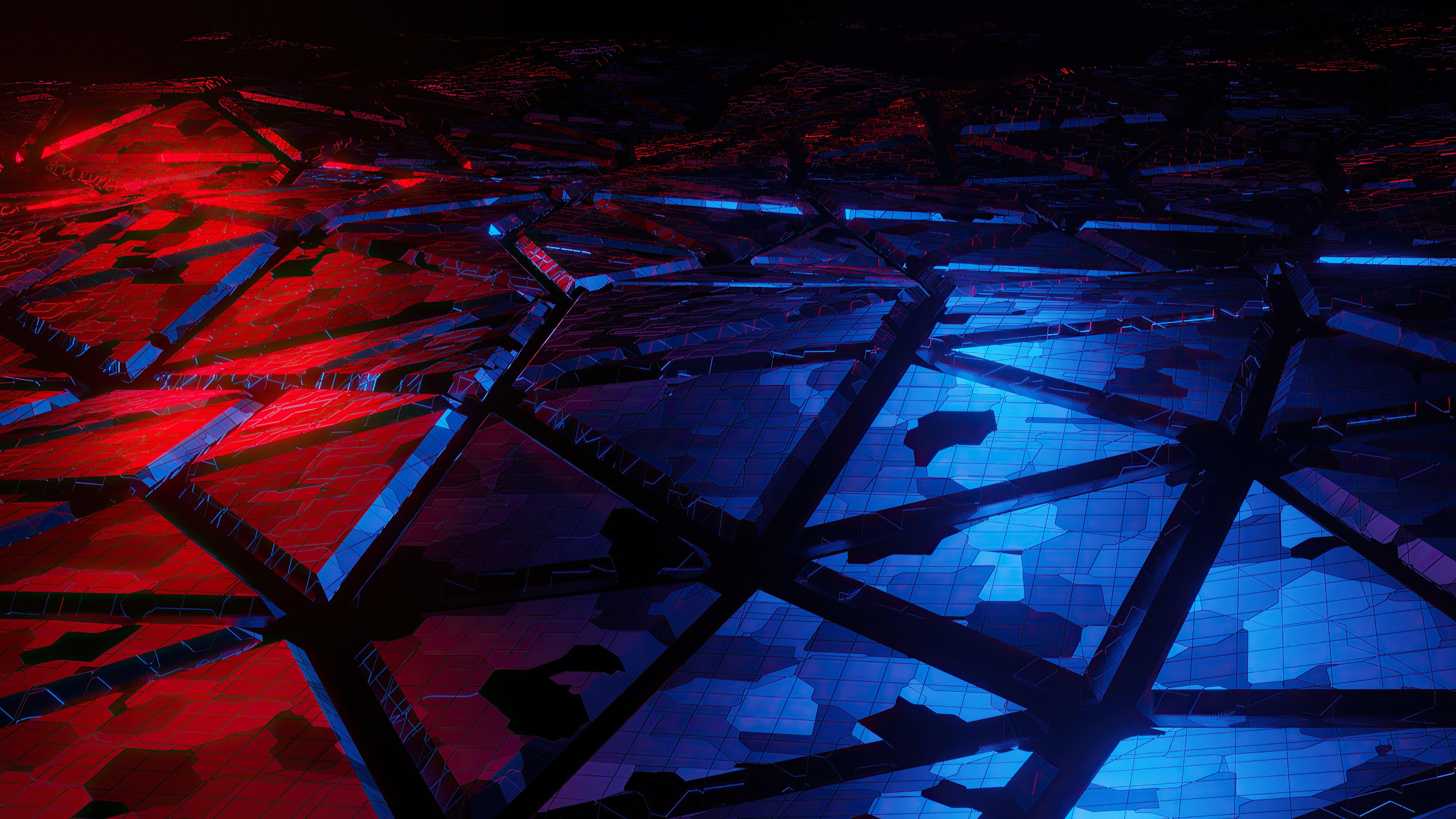Fondos de pantalla Rojo y azul quebraduras
