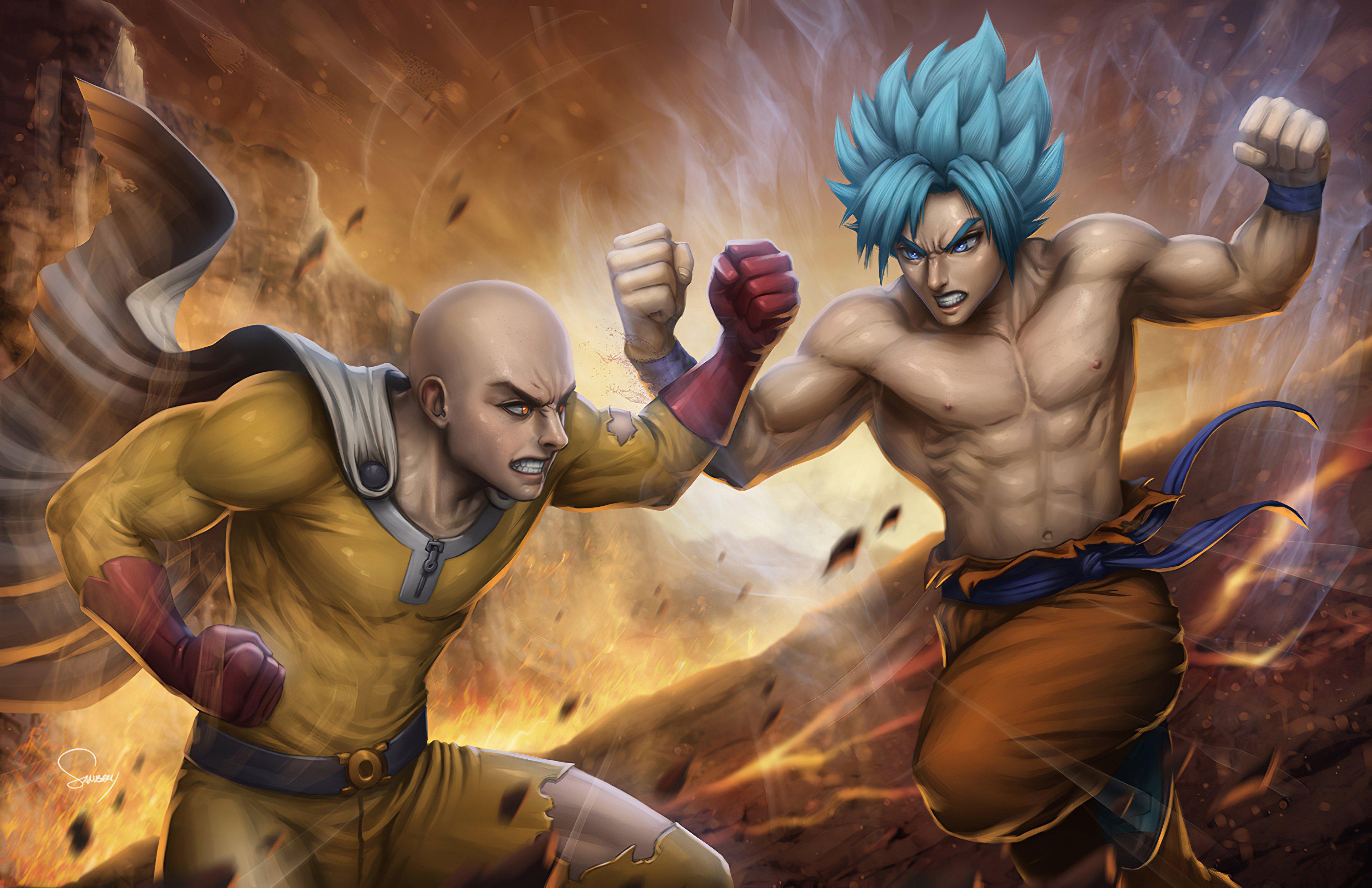 Fondos de pantalla Anime Saitama contra Goku