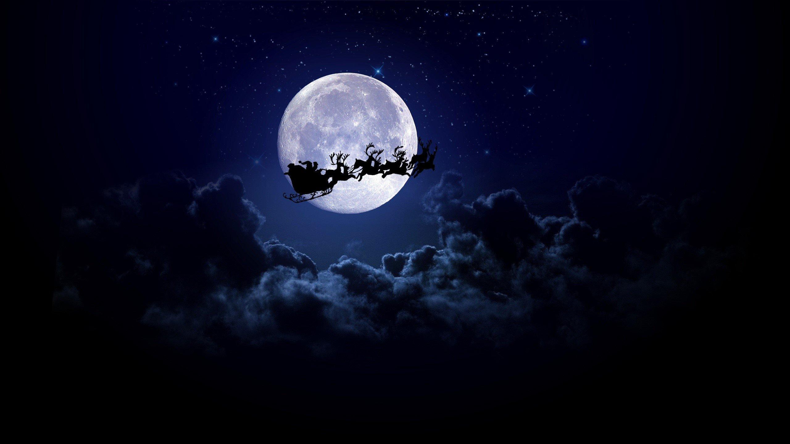 Fondo De Pantalla 3d De Navidad De Santa Vas De Luna Hd: Santa En La Luna Fondos De Pantalla 2560x1440 #54