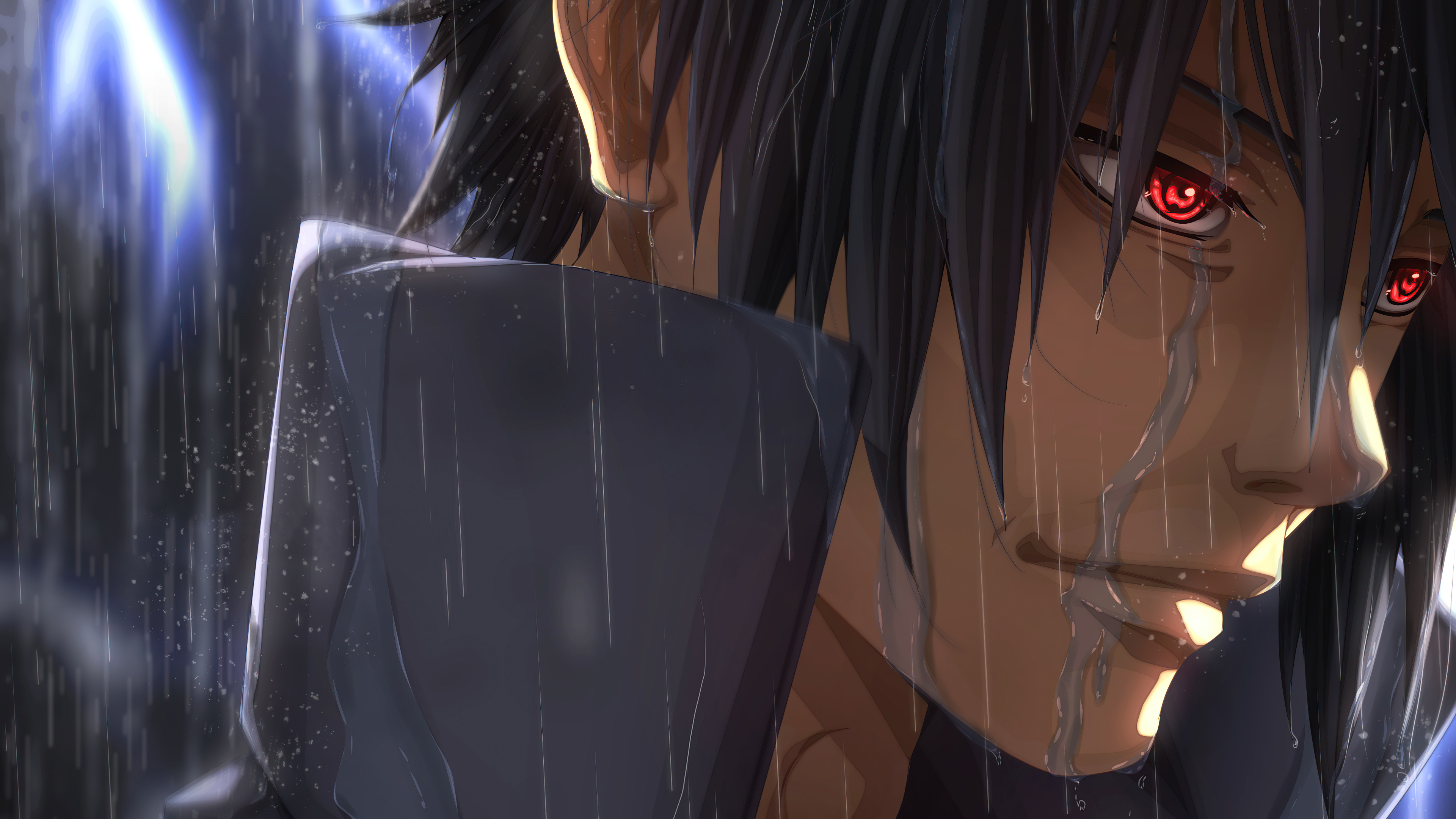 Fondos de pantalla Anime Sasuke Sharingan en la lluvia