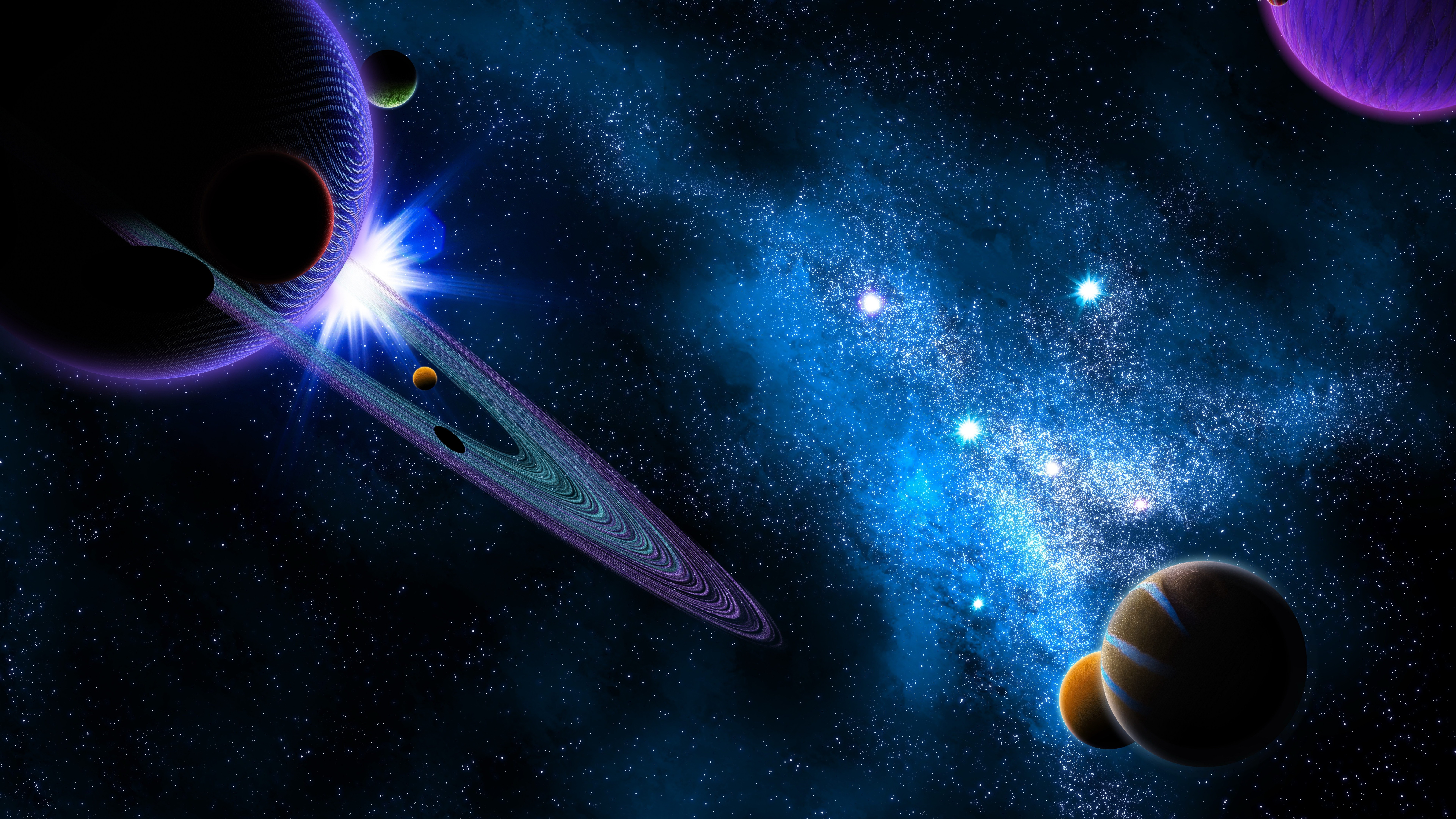 Saturn And Other Planets Wallpaper 8k Ultra Hd Id3912