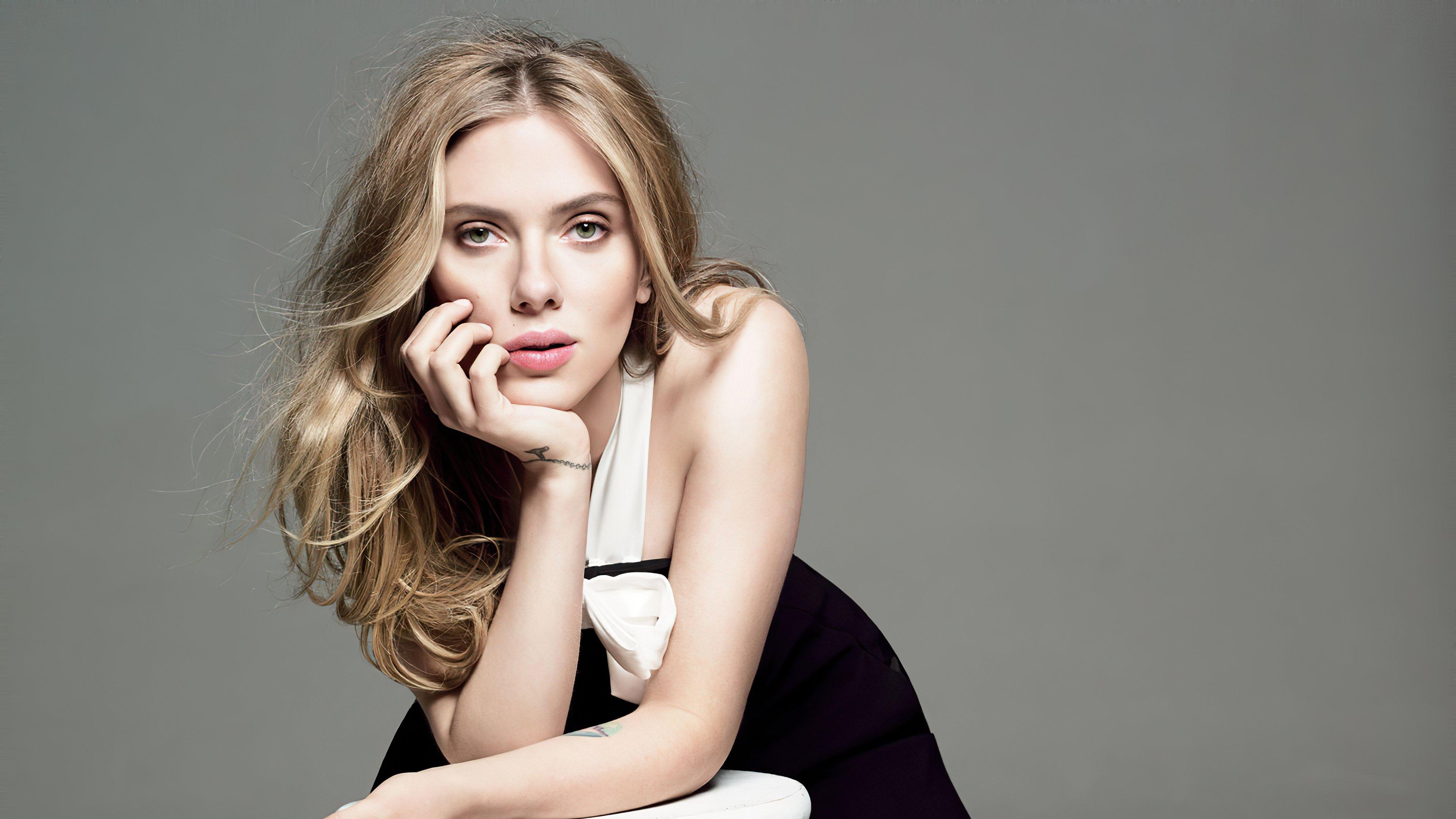 Wallpaper Scarlett Johansson black dress blonde