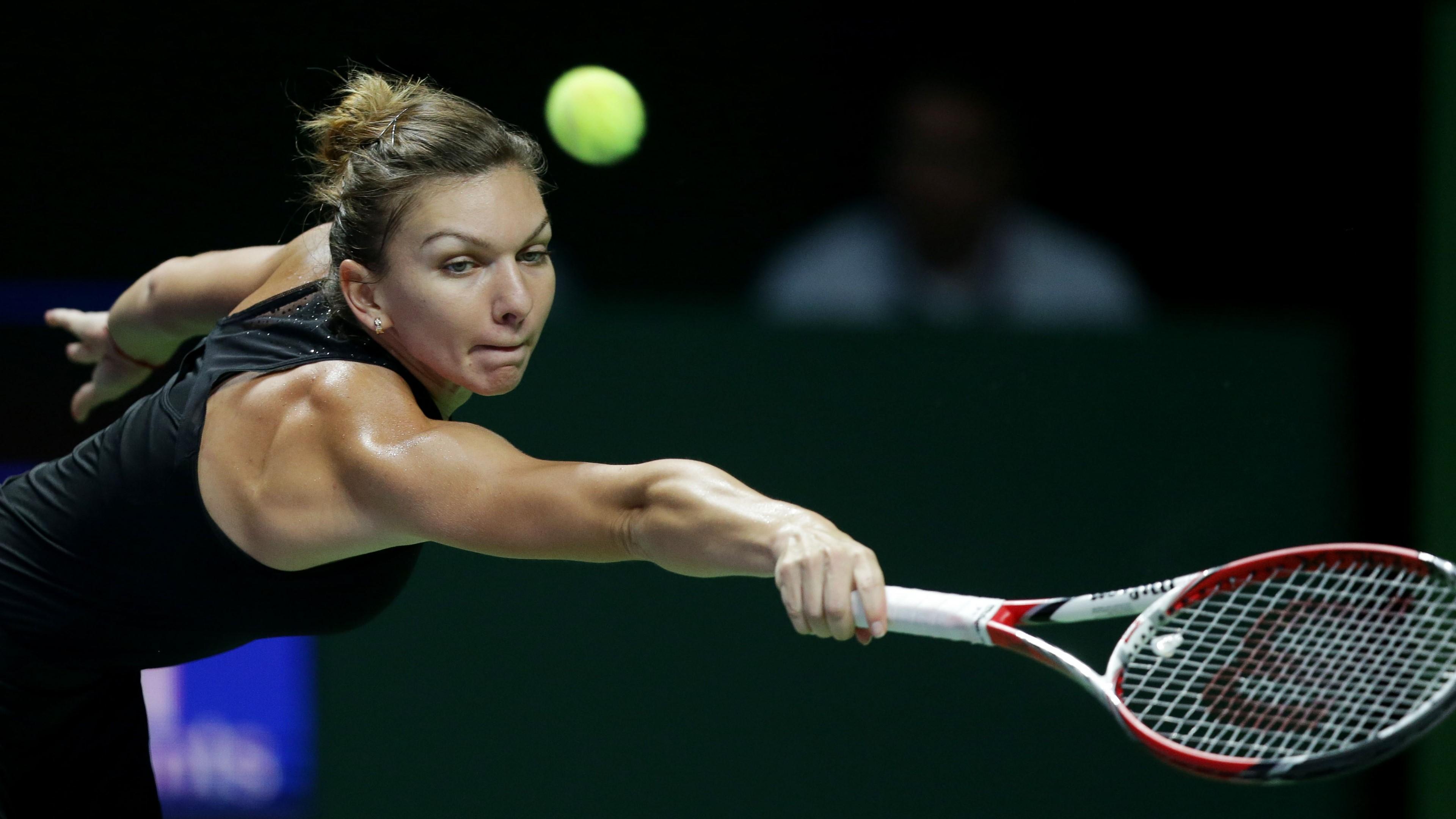 Wallpaper Simona Halep playing tennis