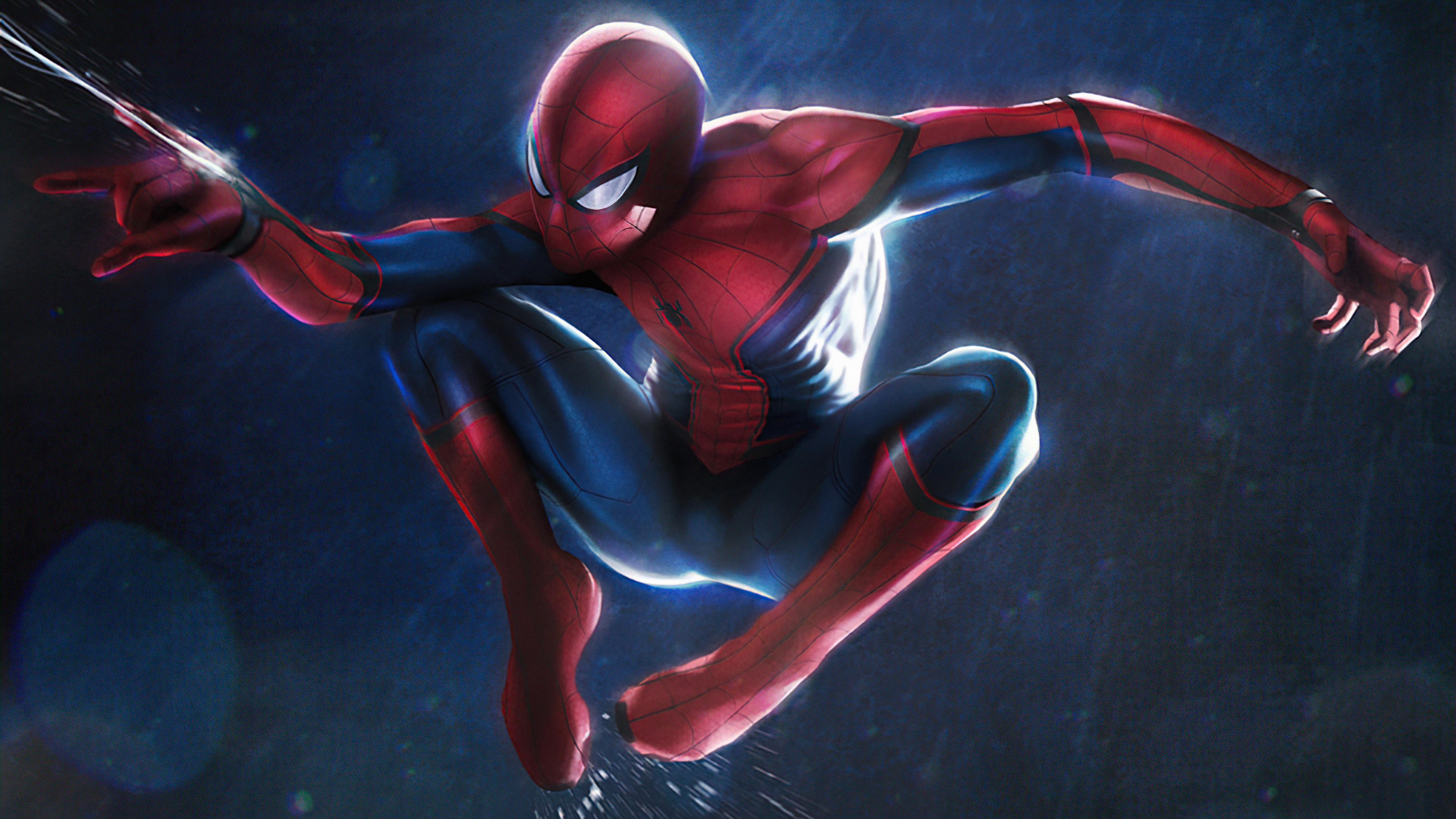 Fondos de pantalla Spider Man balanceandose en la lluvia