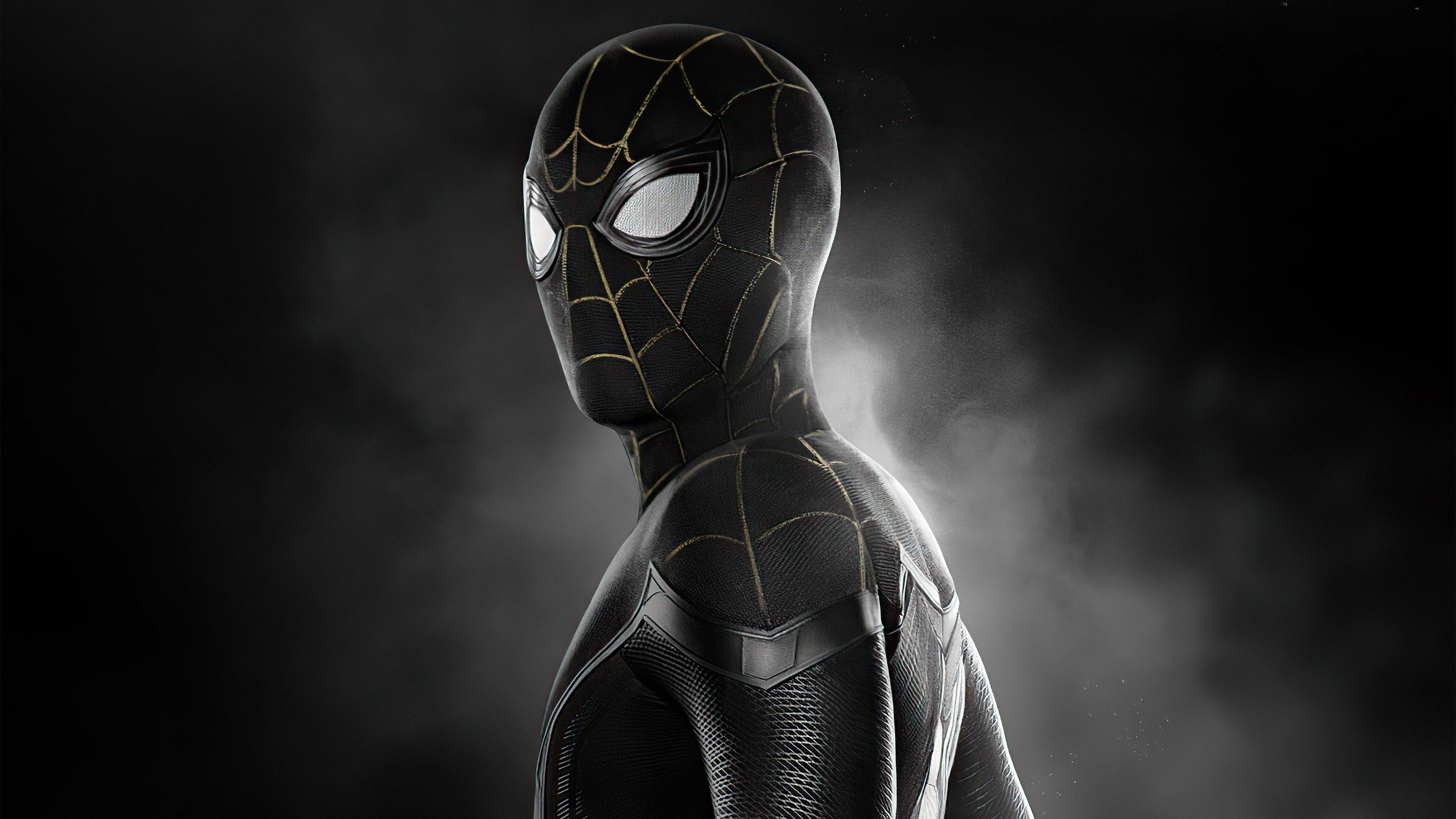 Wallpaper Spider Man black suit No way Home