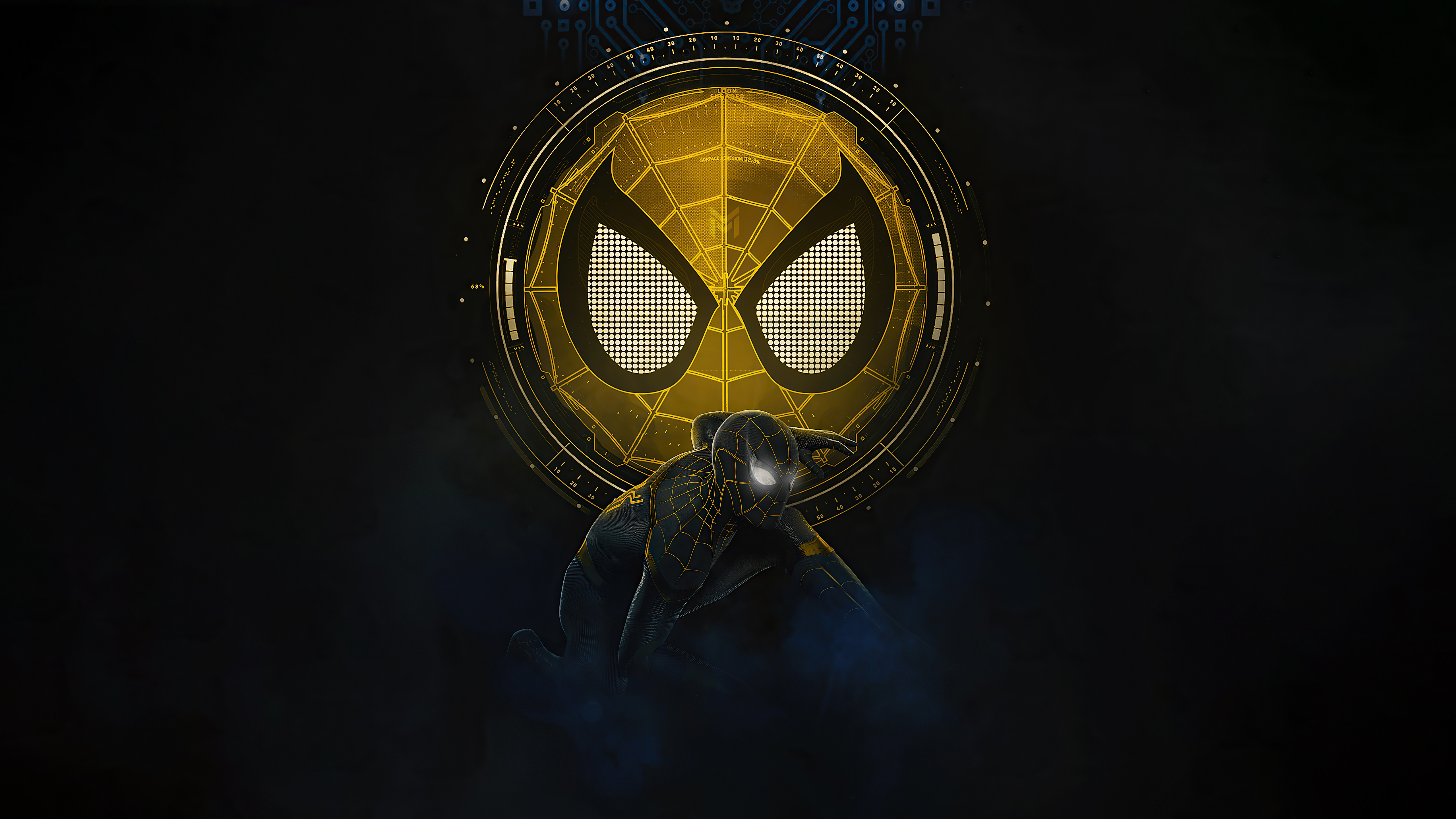 Wallpaper Spider Man No Way Home black and gold suit