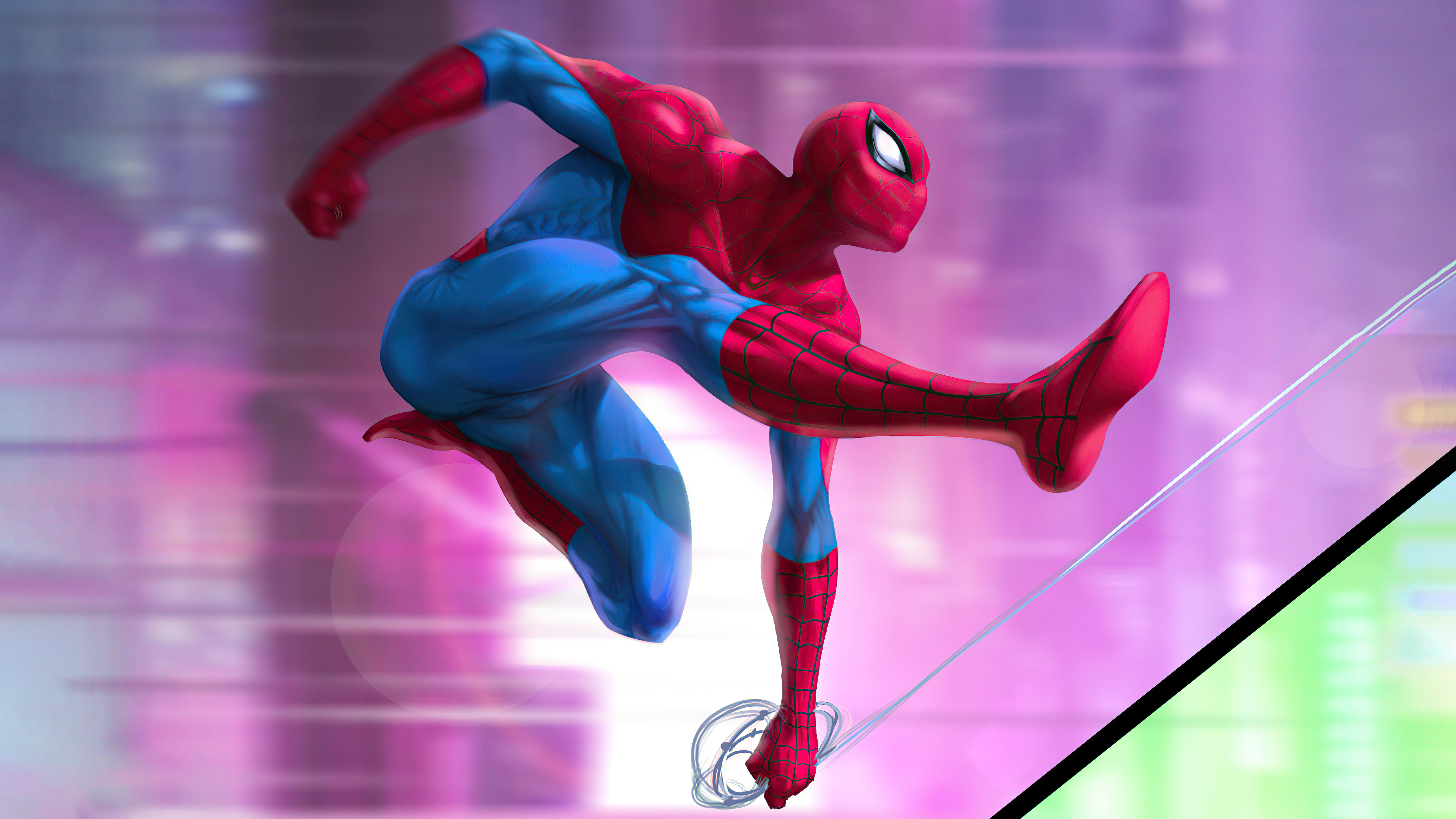 Wallpaper Spider Man jumping Digital Illustration