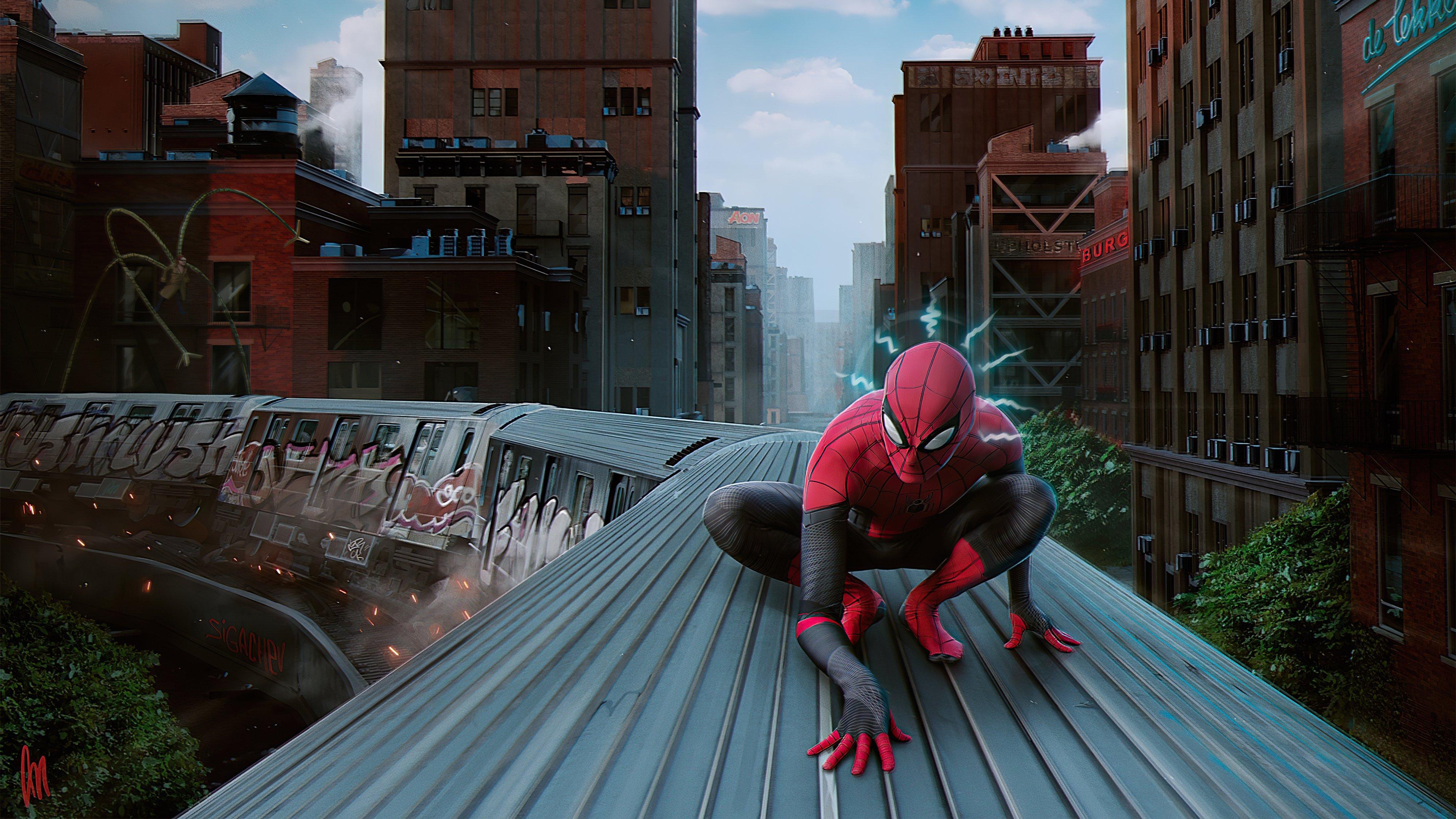 Wallpaper Spider Man on train
