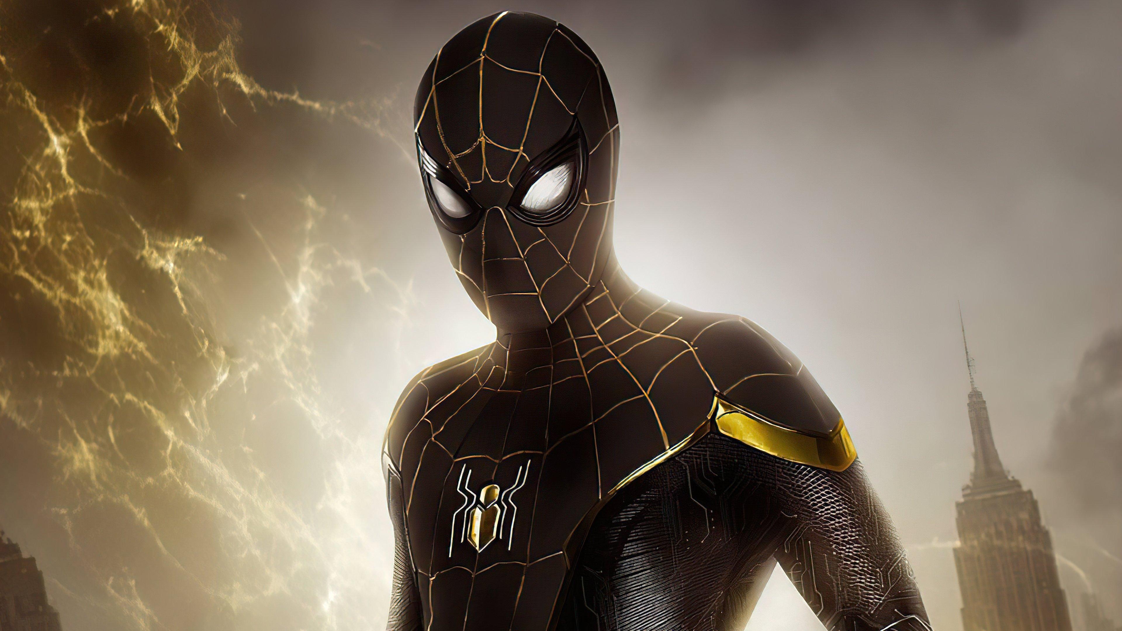 Fondos de pantalla Spider Man traje negro y dorado