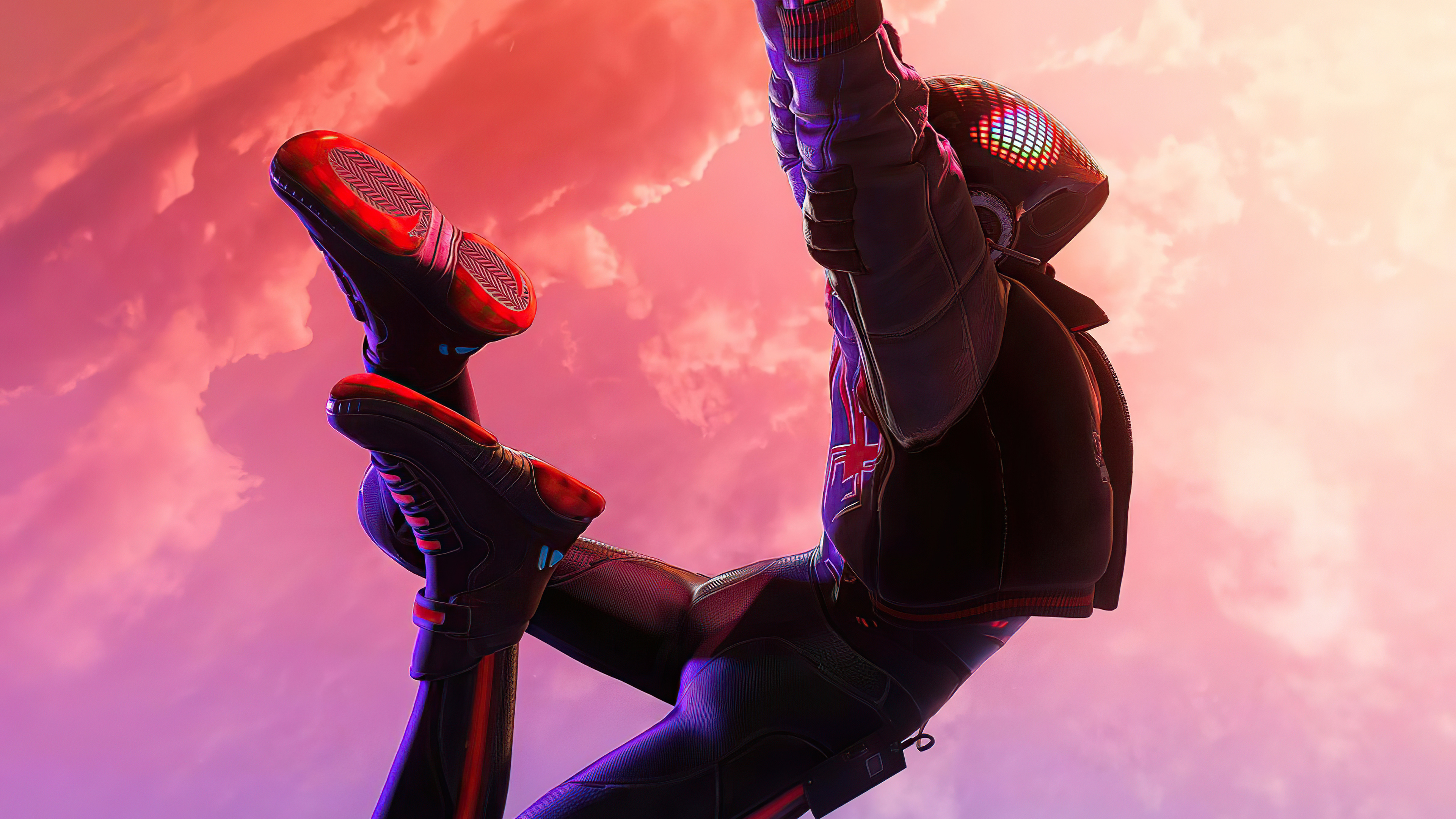 Wallpaper Spiderman Miles Morales hanging from spiderweb