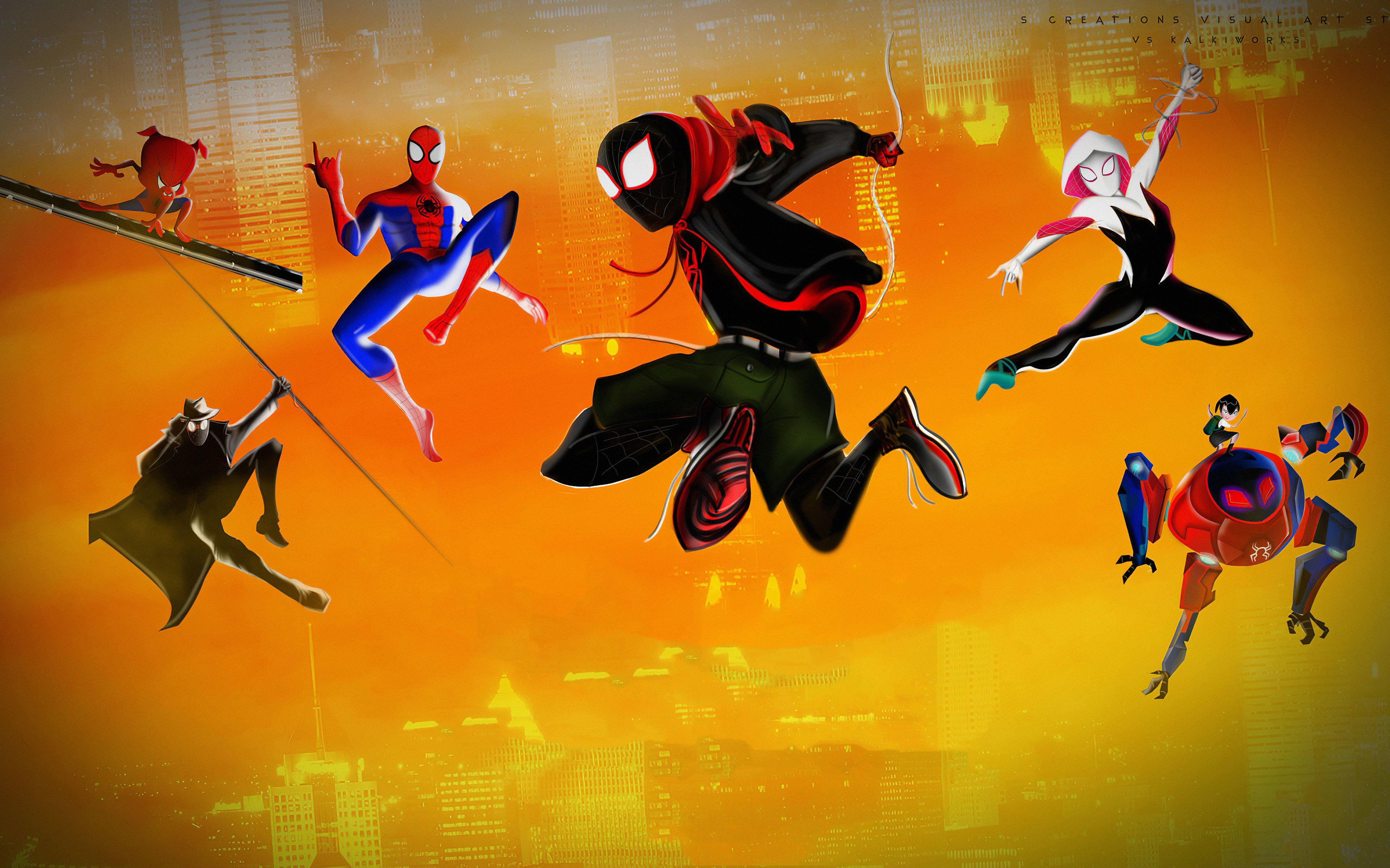 Fondos de pantalla Spidermans brincando de Un nuevo universo