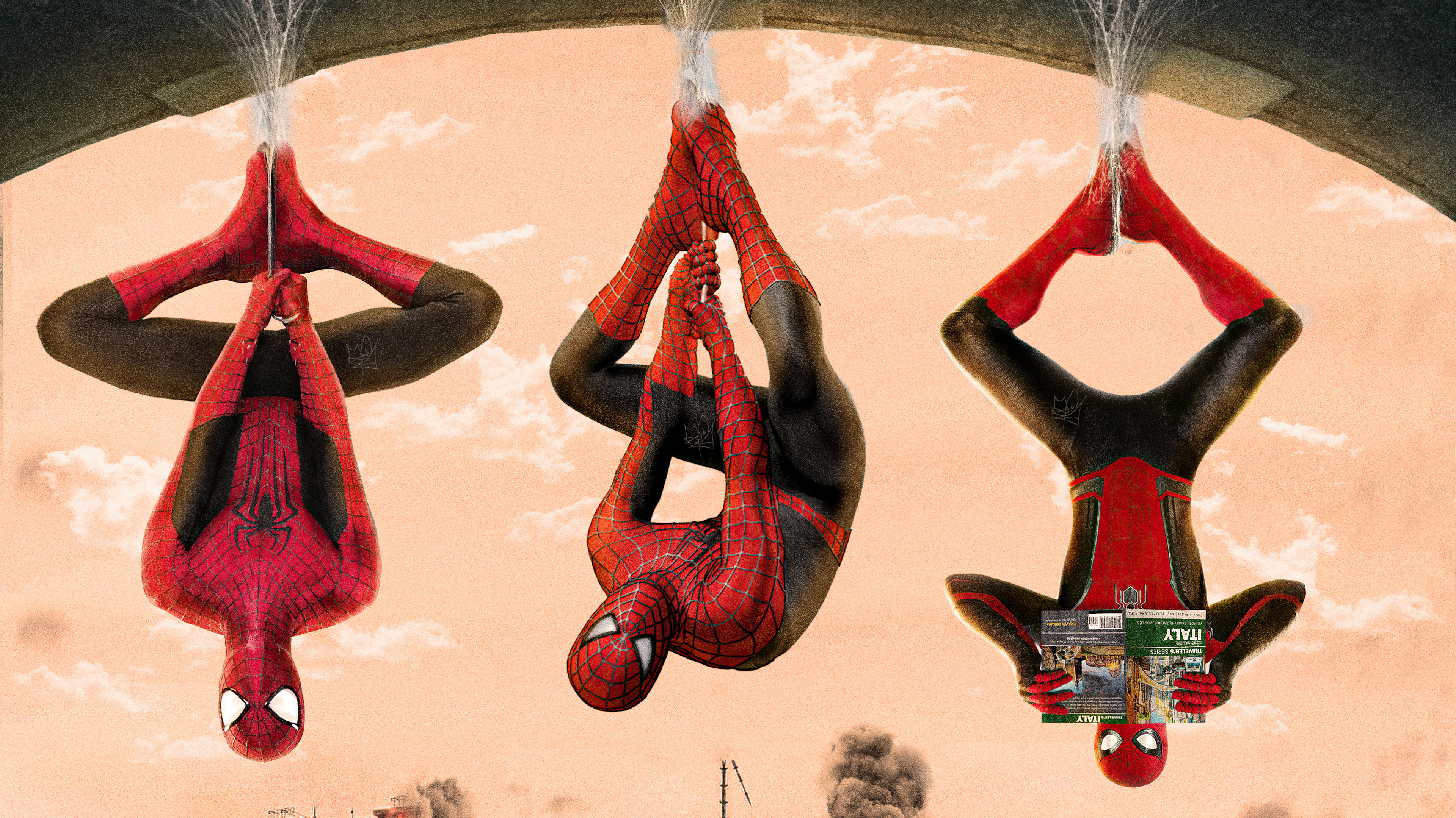 Wallpaper Spiderverse Tobey Maguire Tom Holland Andrew Garfield