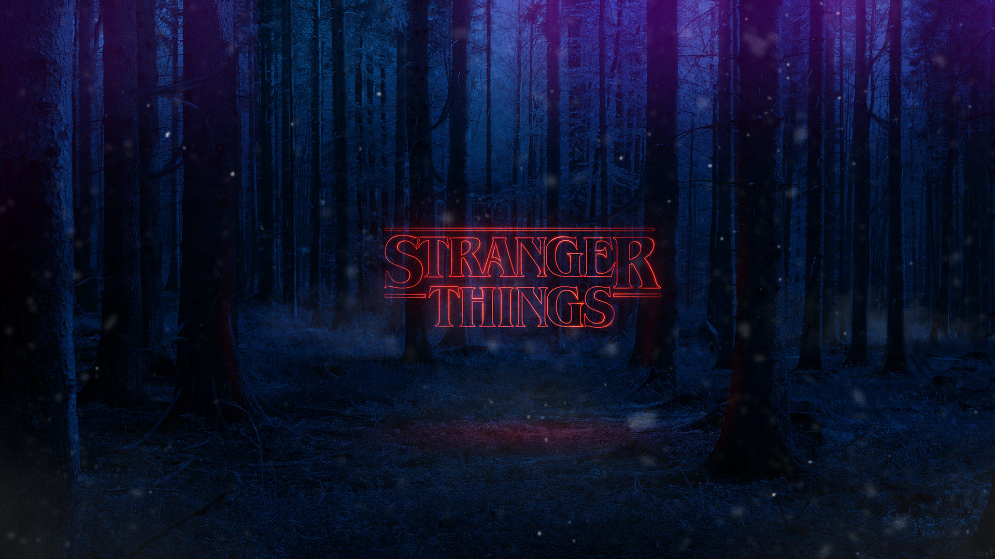 Stranger Things Bosque Logo Netflix Fondo De Pantalla 4k