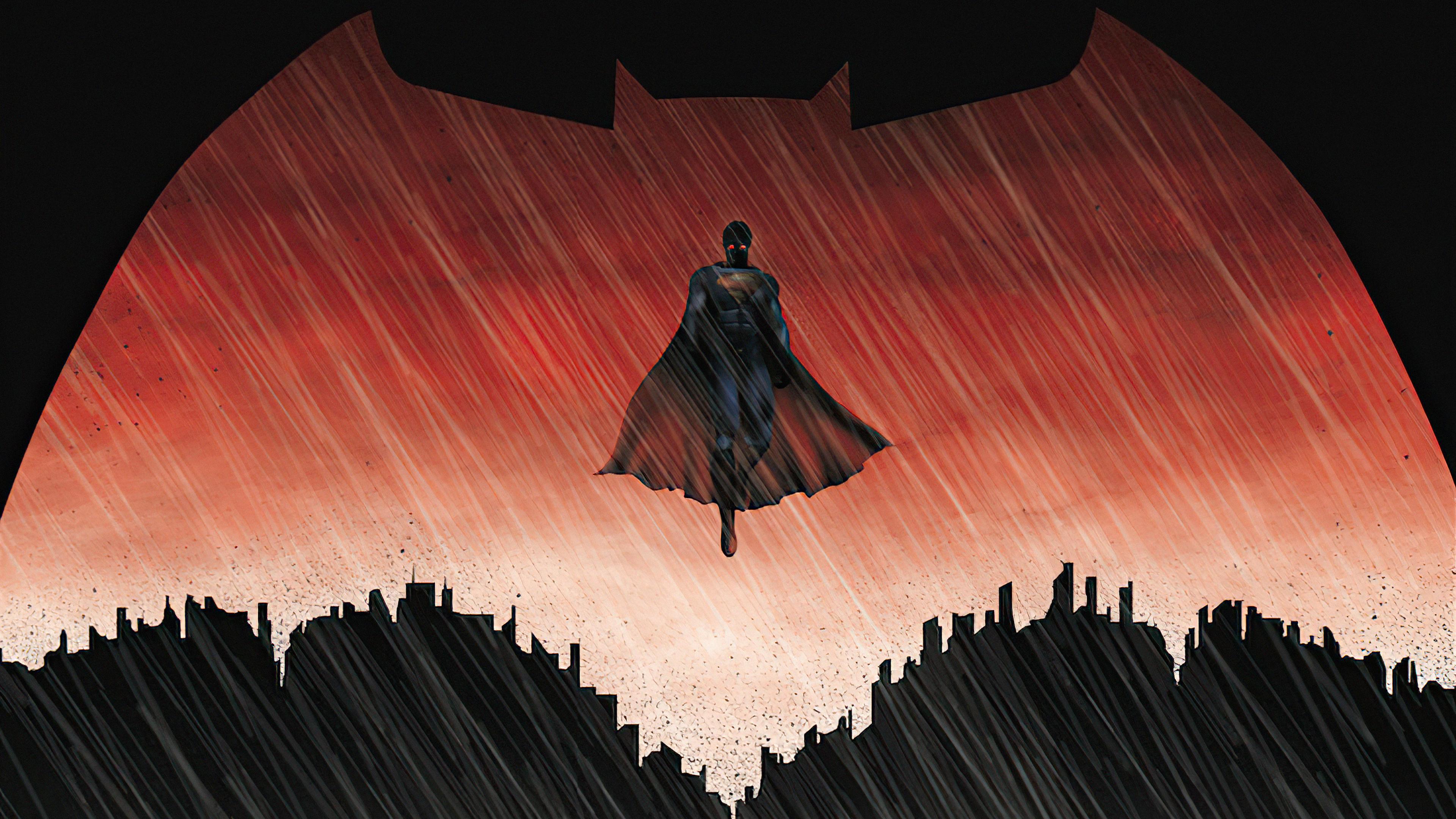 Wallpaper Superman inside Batman logo
