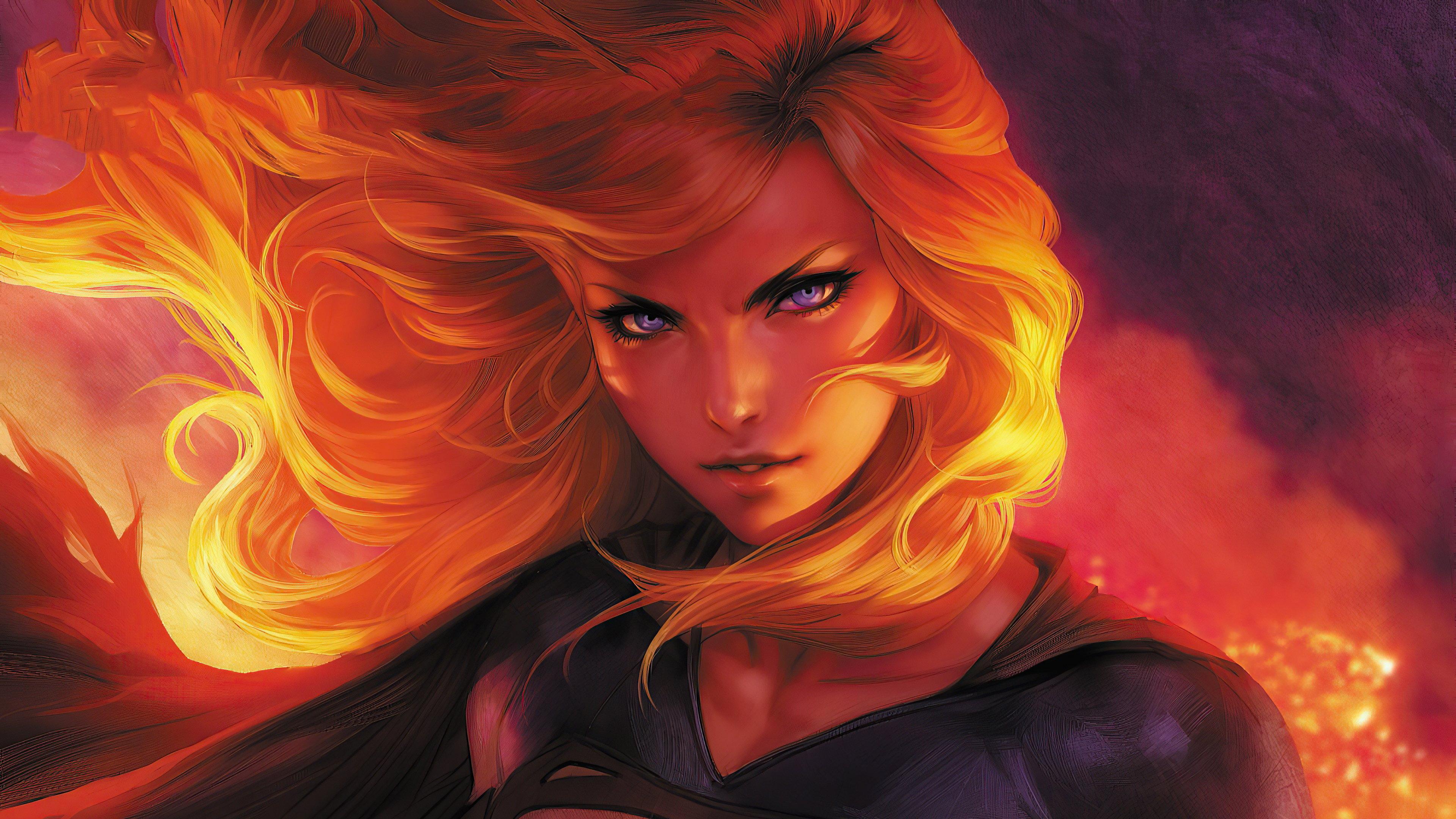 Fondos de pantalla Supergirl en fuego Fanart