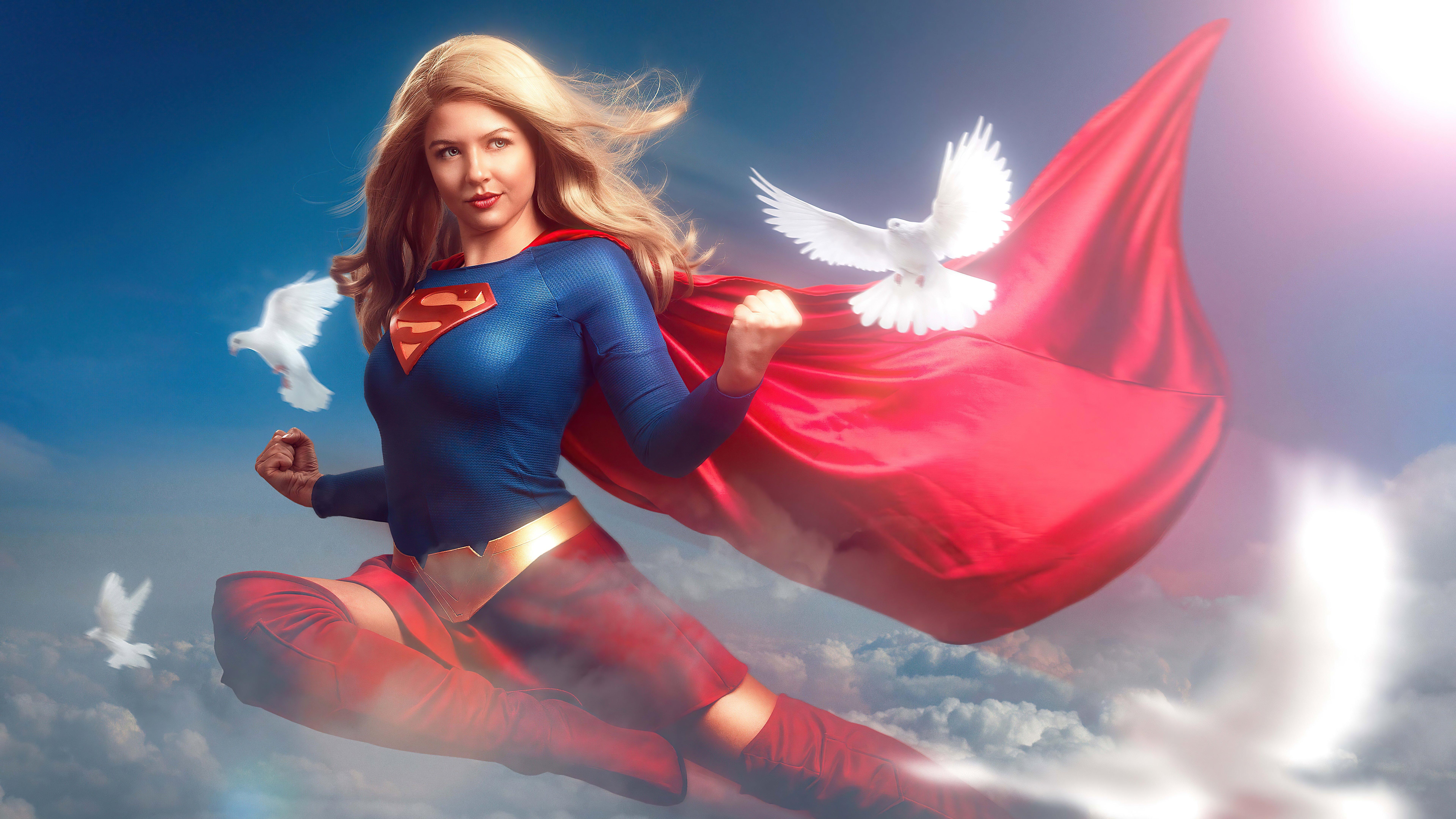 Fondos de pantalla Supergirl y palomas blancas Fanart