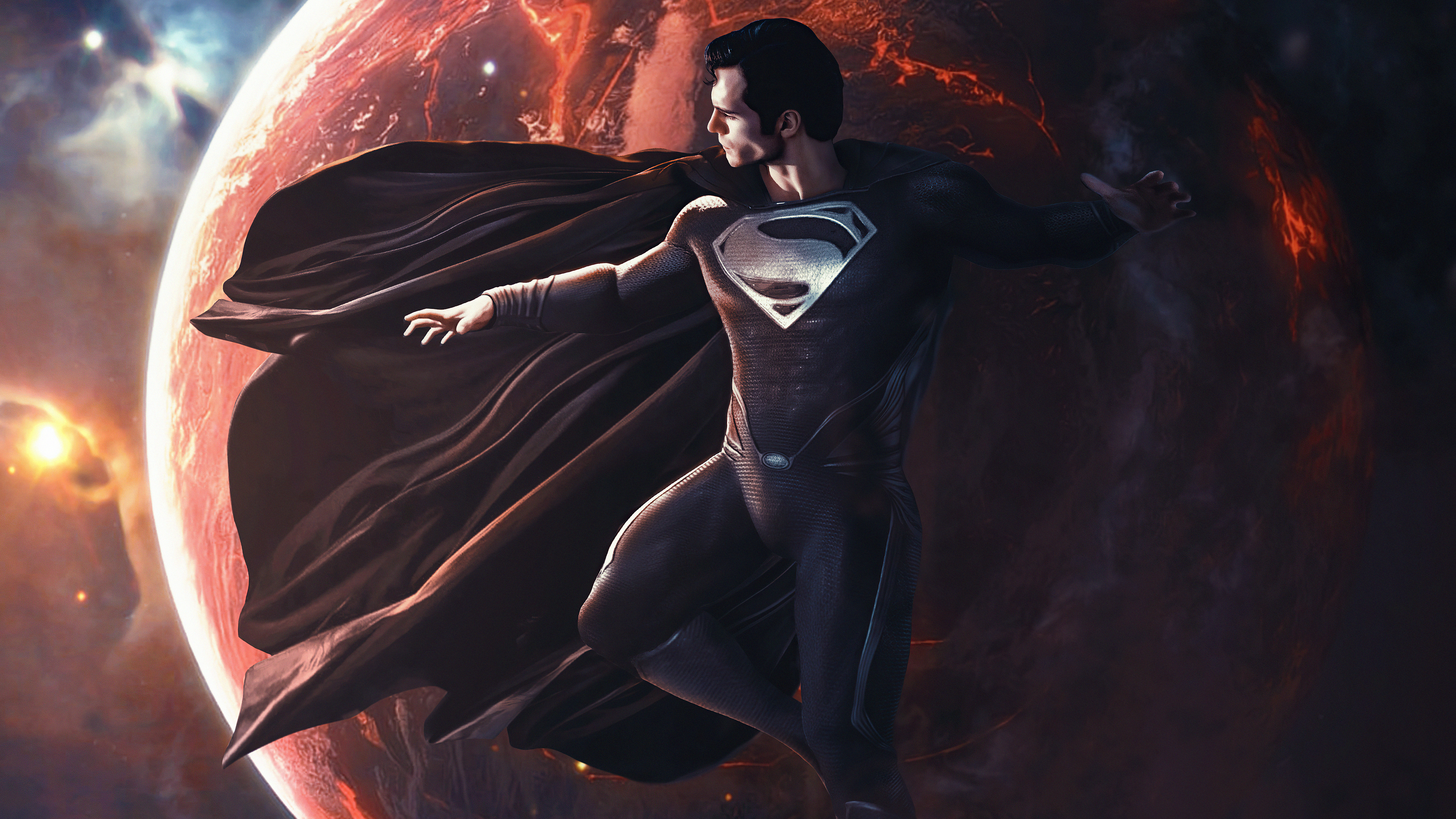 Wallpaper Superman with black suit over the earth