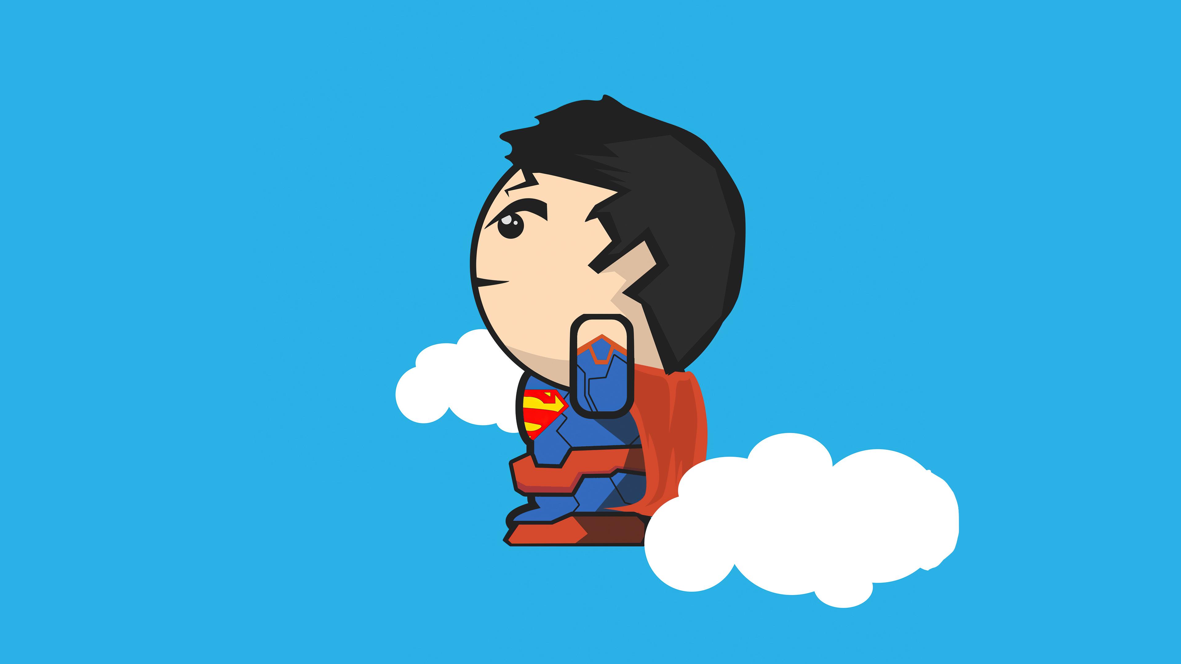 Fondos de pantalla Superman en las nubes minimalista