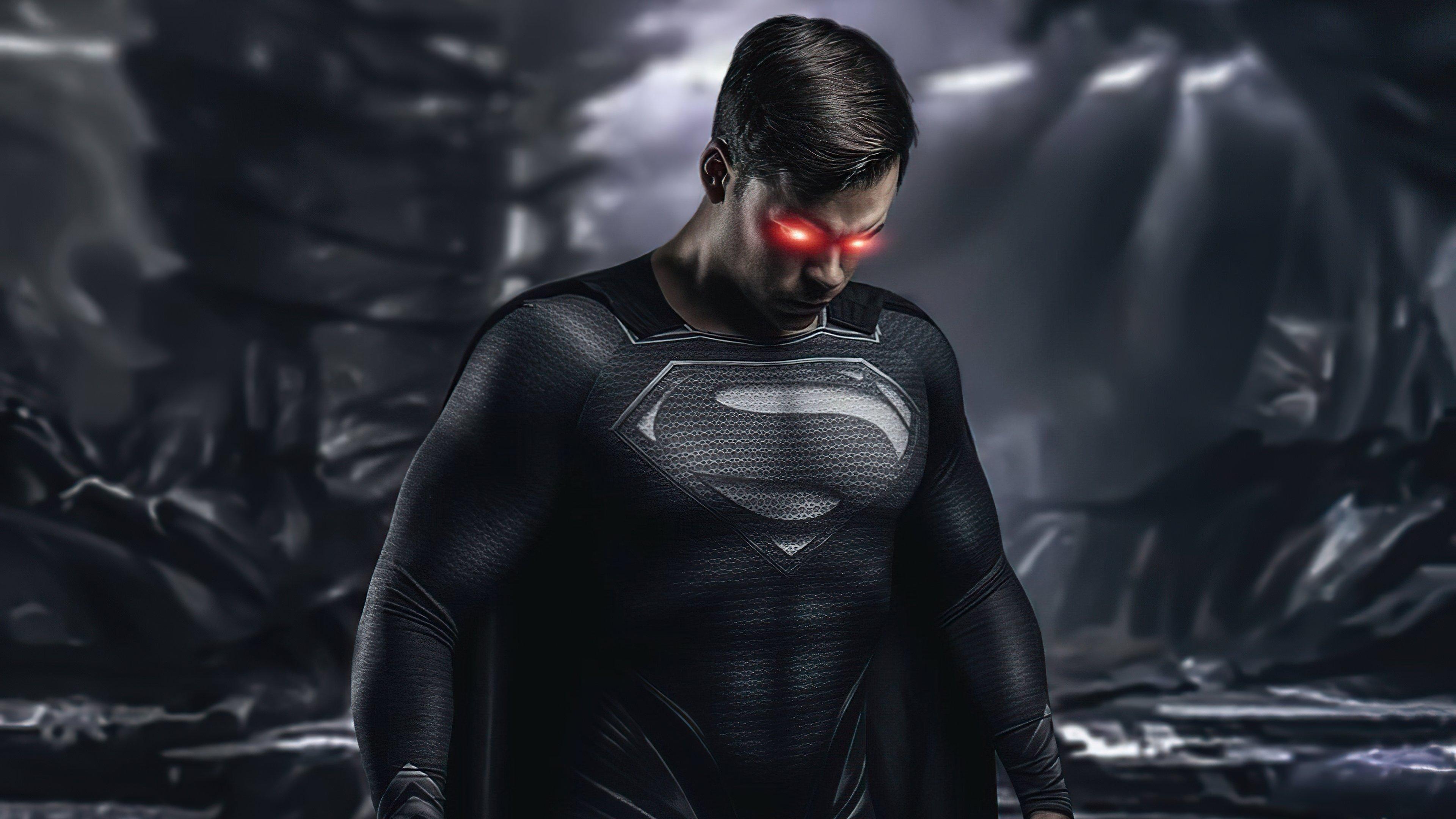 Fondos de pantalla Superman en traje negro y ojos rojos