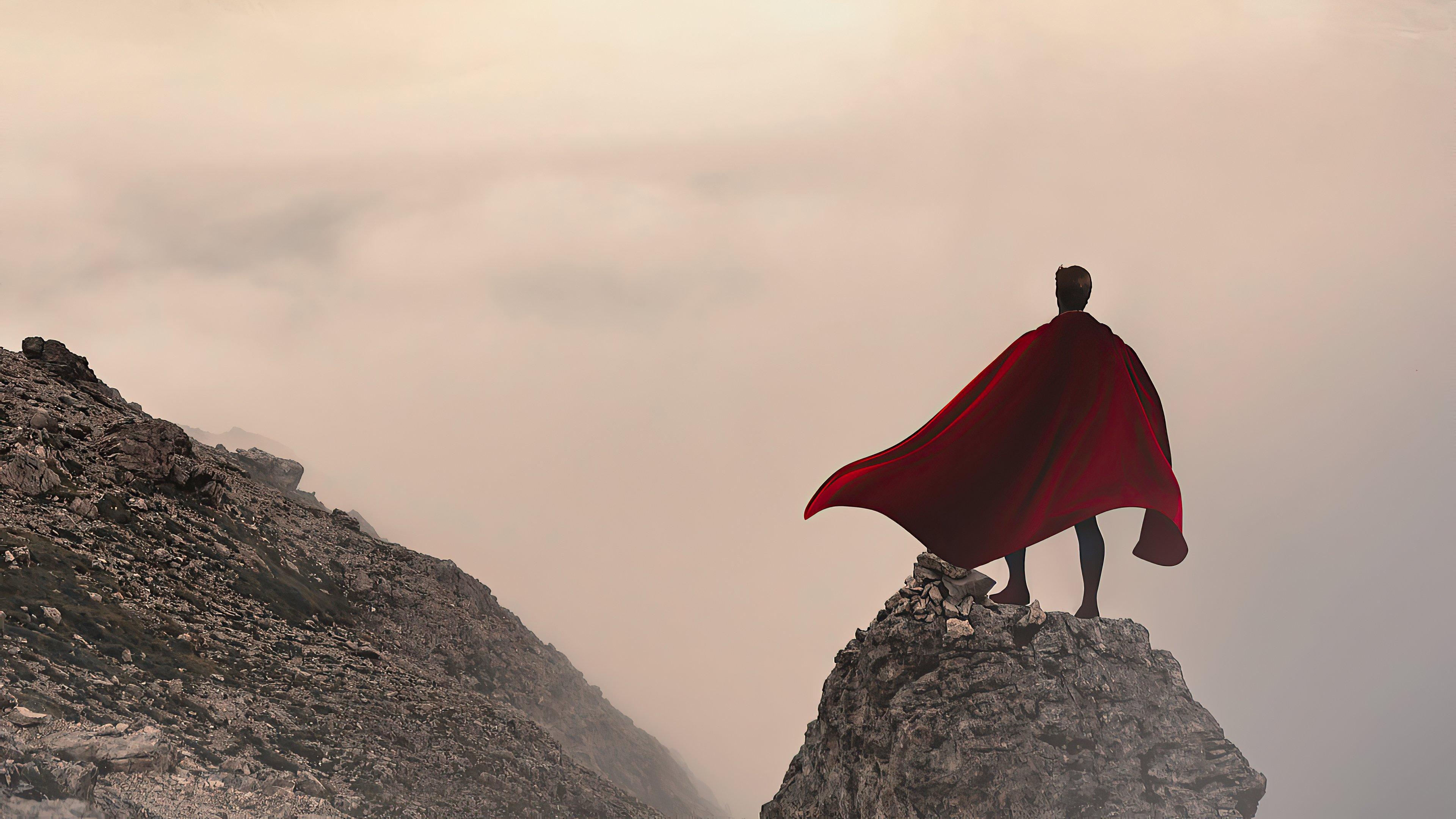 Wallpaper Superman over mountain infront of mist