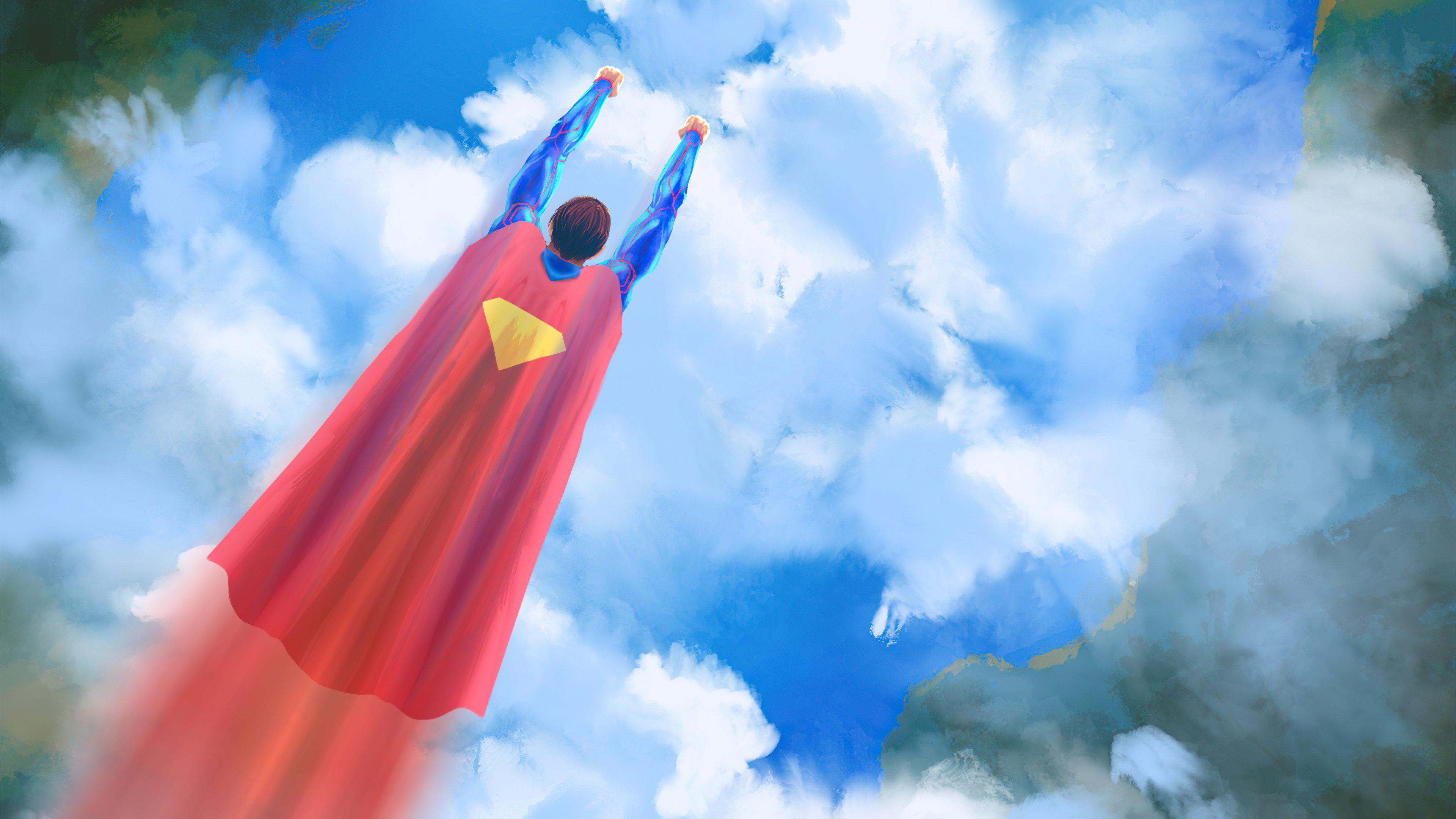Wallpaper Superman flying Digital Art