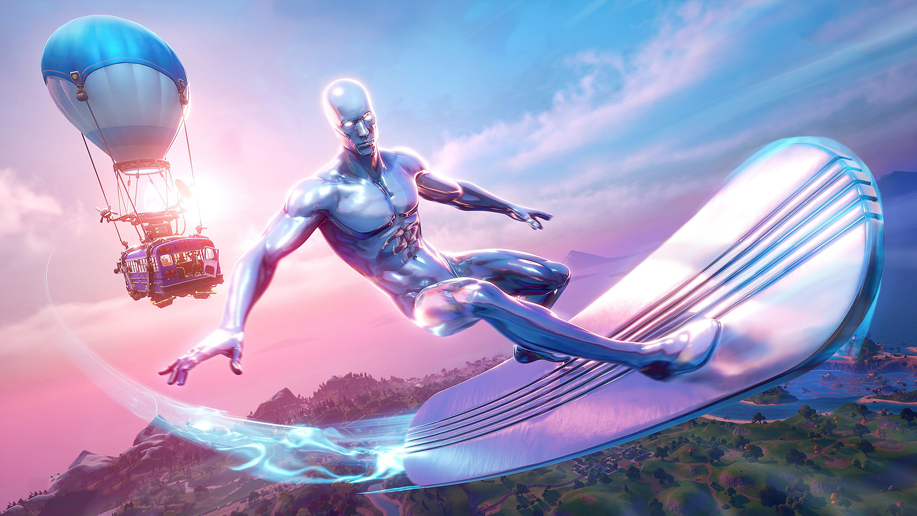 Wallpaper Silver Surfer Fortnite Season 4