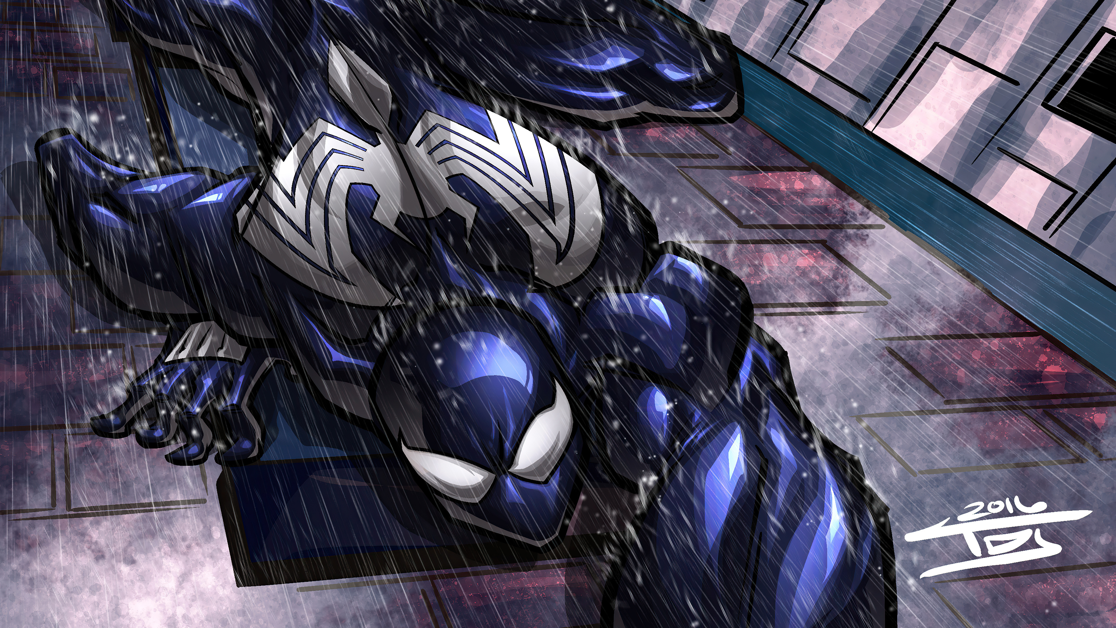 Fondos de pantalla Symbiote Spidey escalando muro