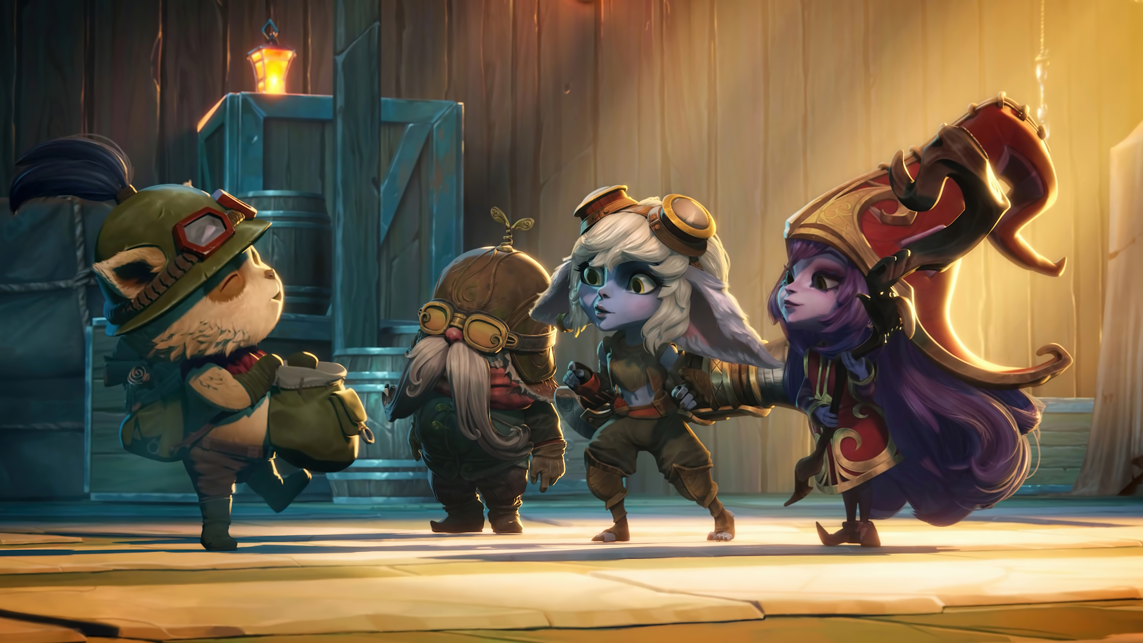 Wallpaper Teemo, Corki, Tristana and Lulu from League of Legends