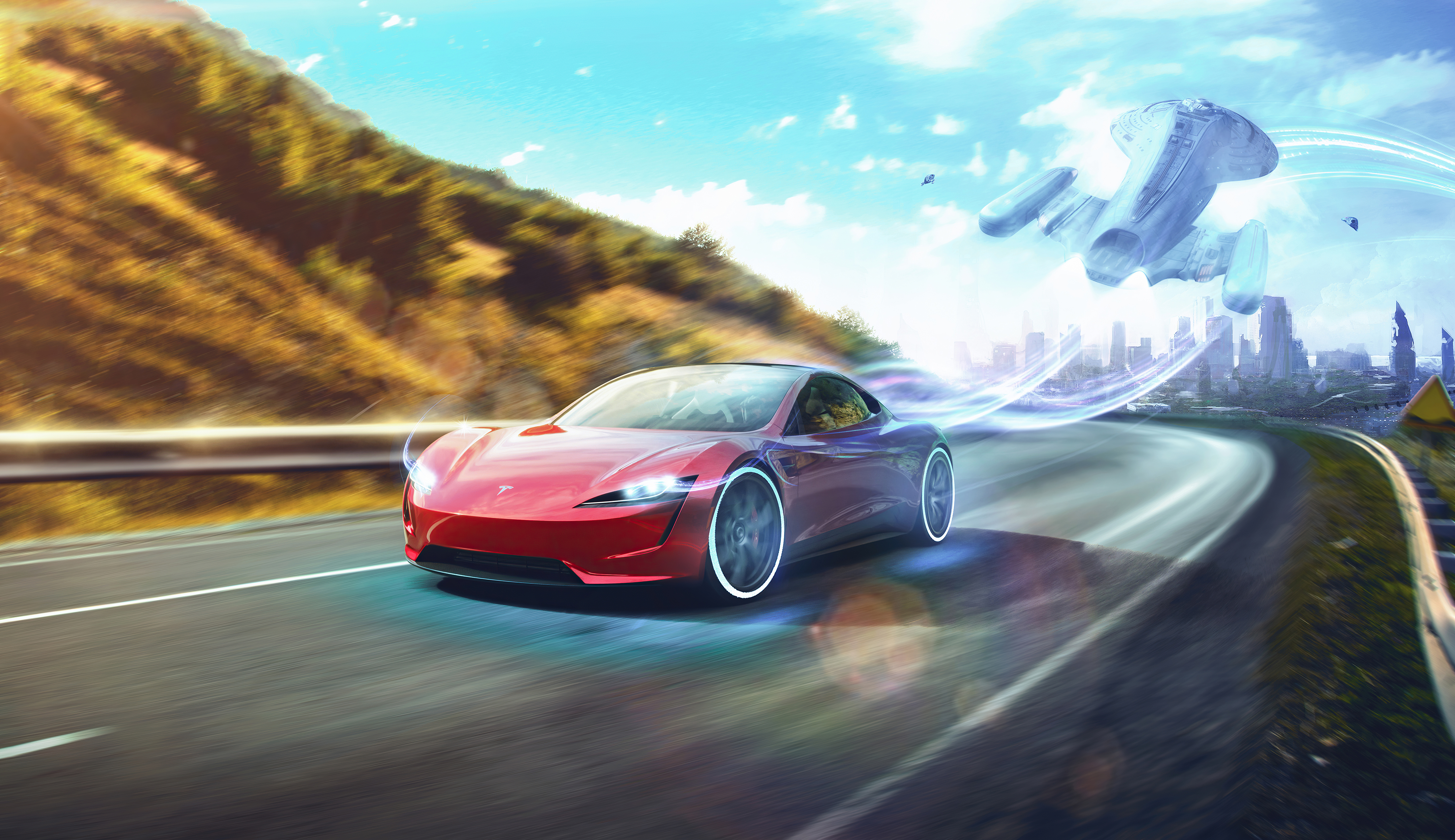 Wallpaper Tesla Roadster