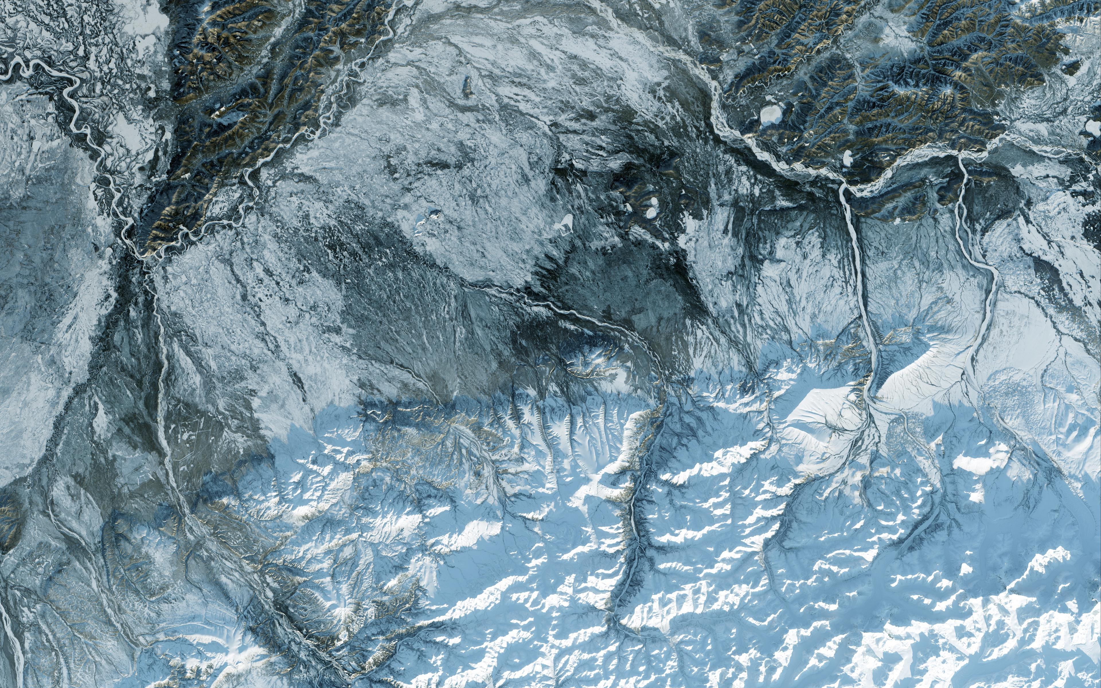 Fondos de pantalla Textura de vista aera del hielo de un glaciar