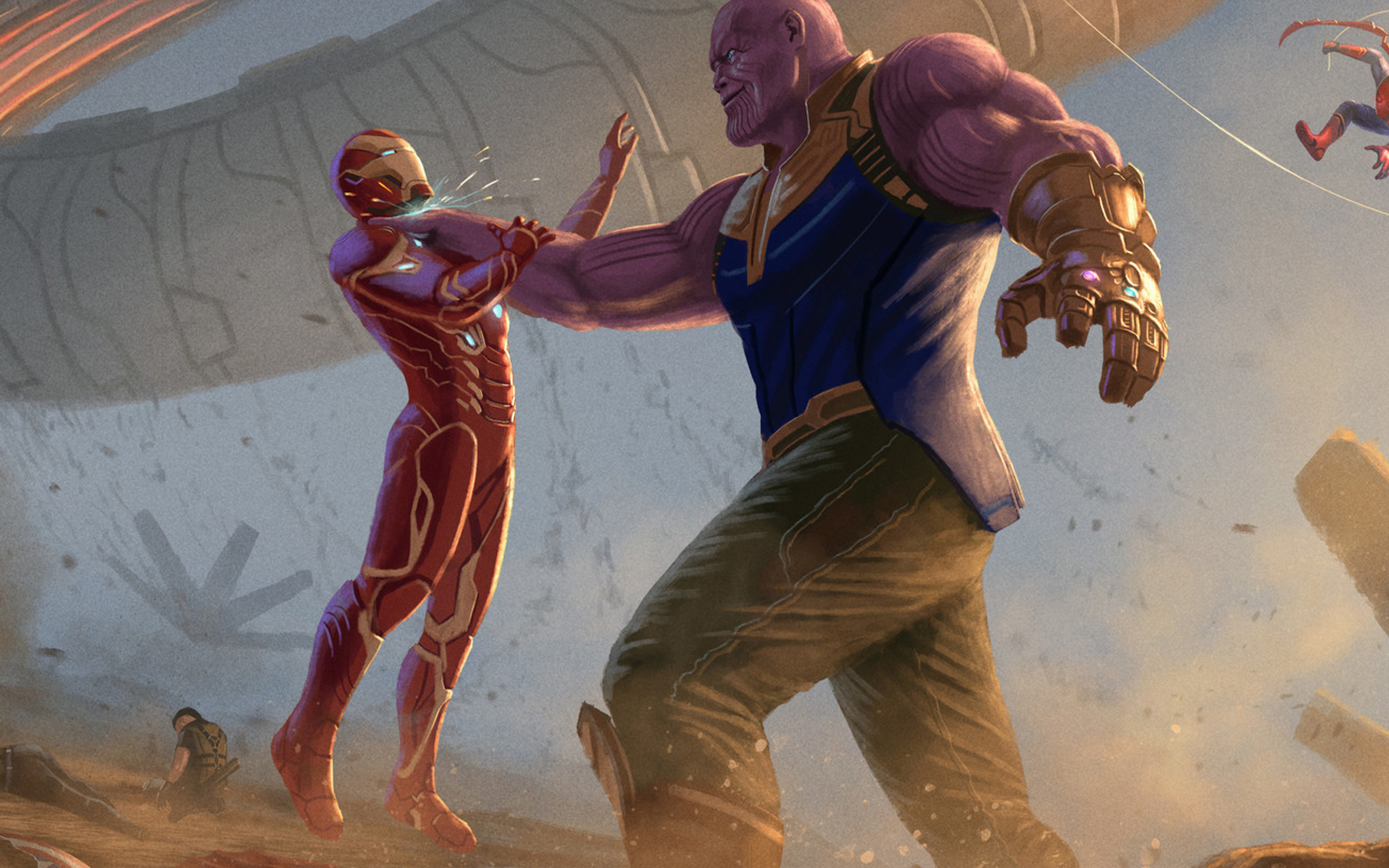Thanos Attacking Iron Man In Infinity War Fanart Wallpaper