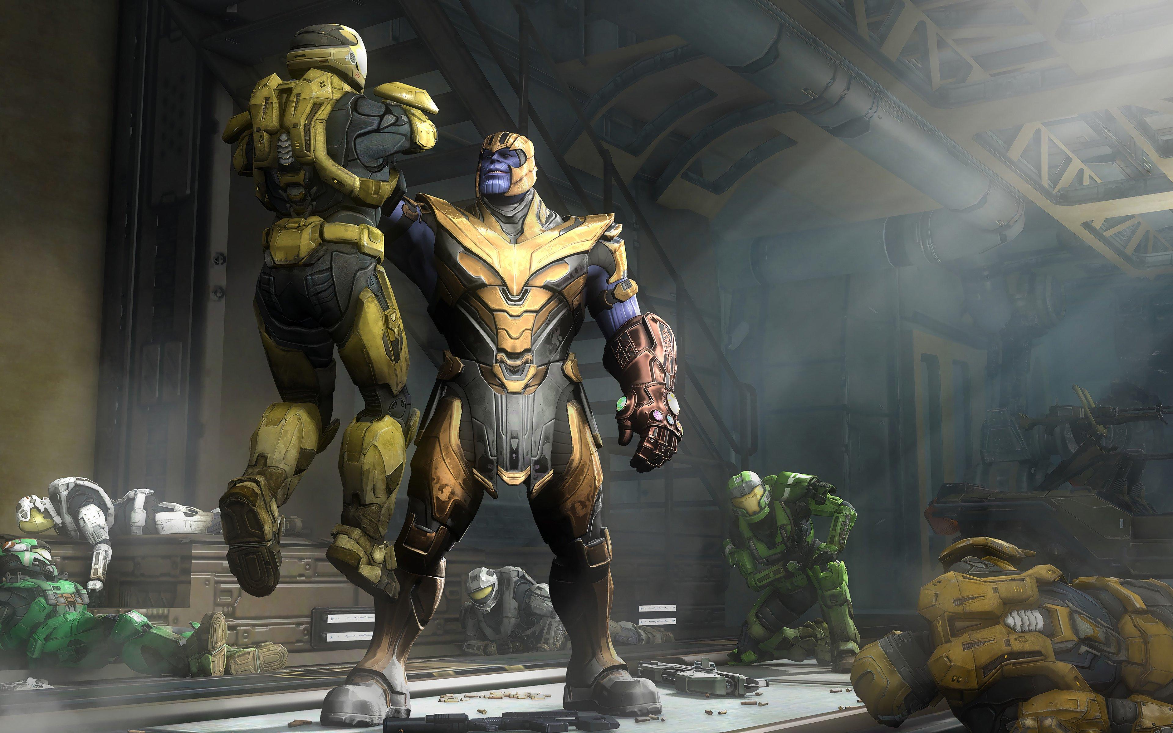 Fondos de pantalla Thanos y Spartan de Halo