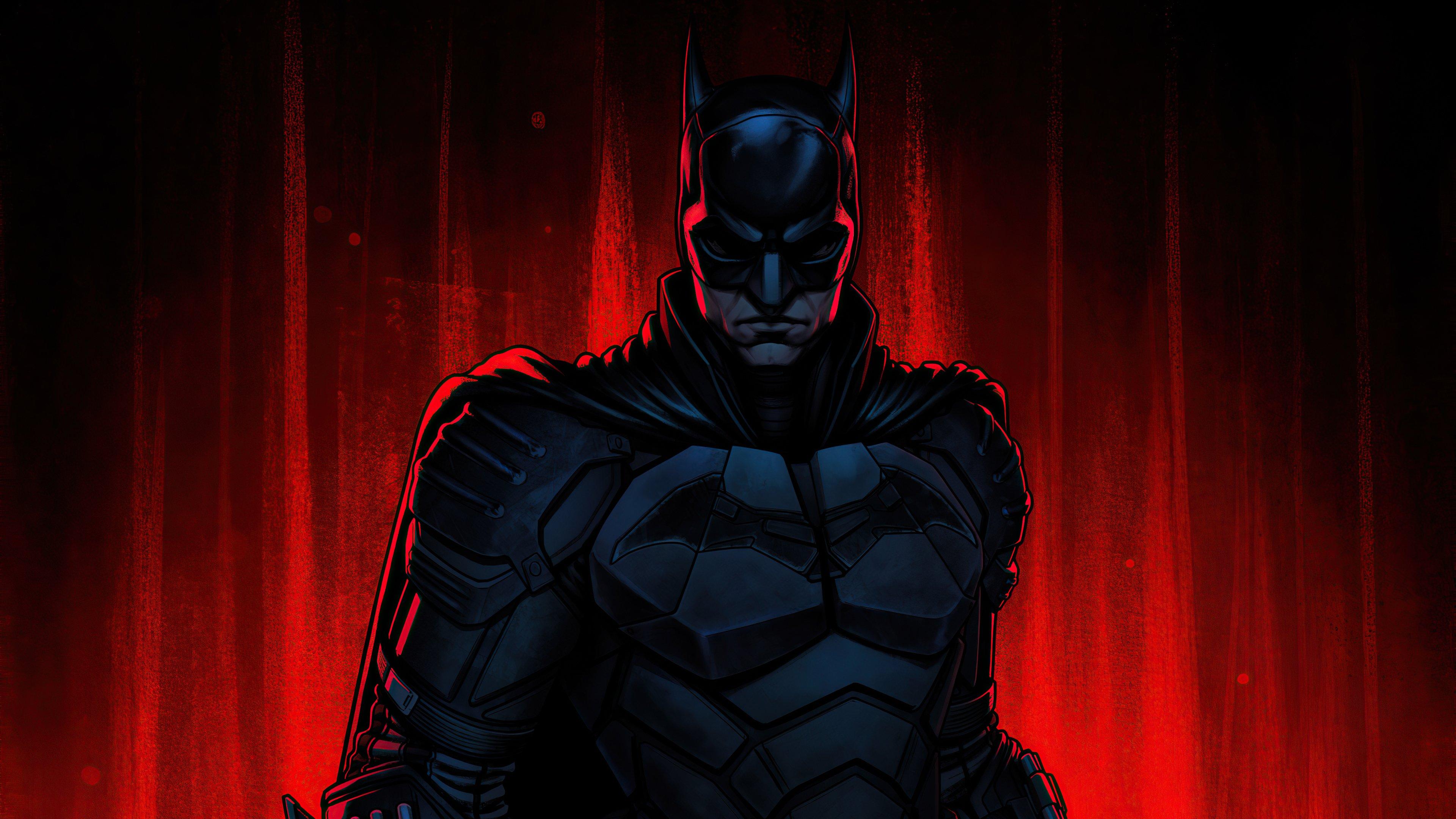 Fondos de pantalla The Batman con fondo rojo