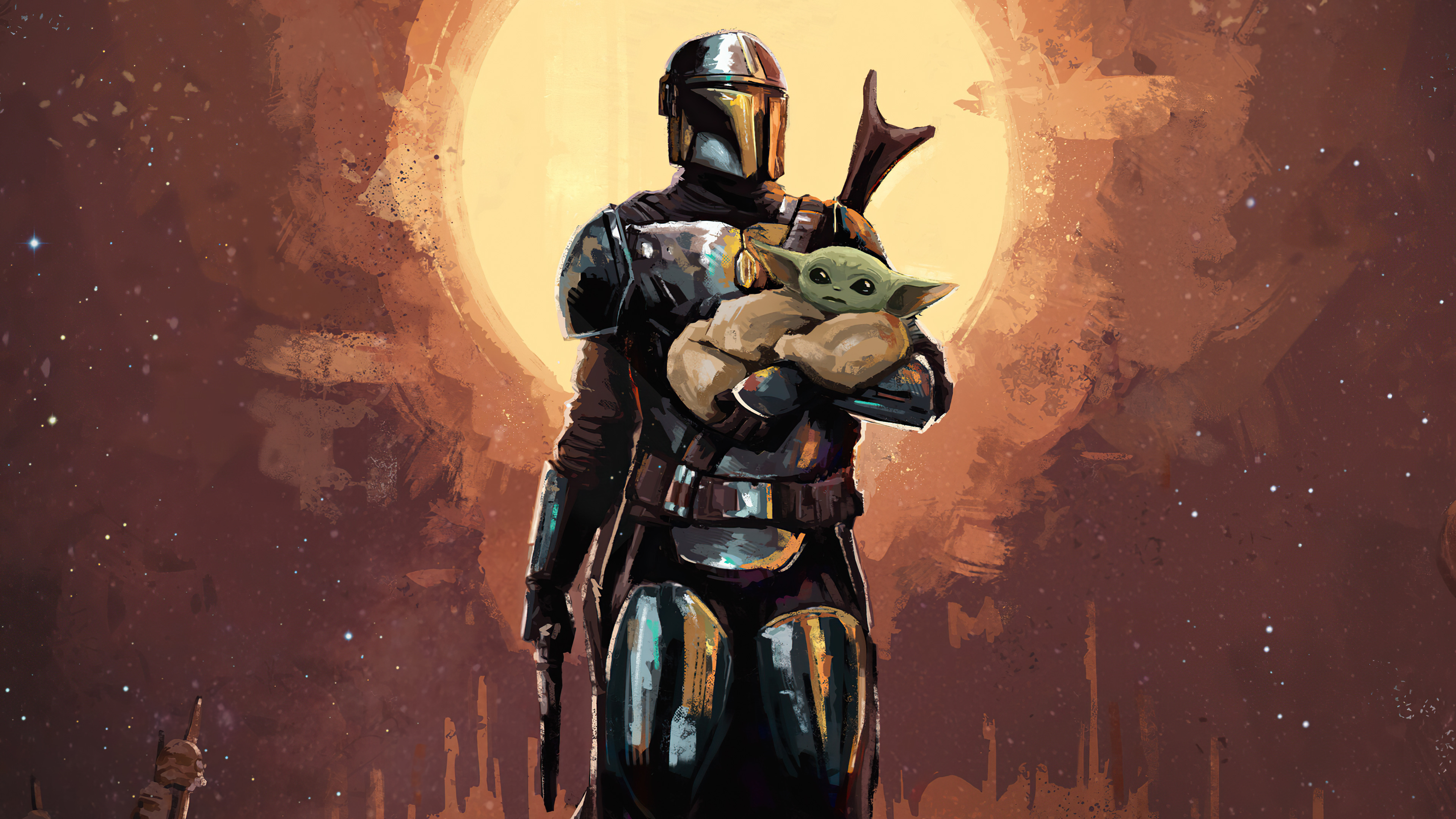 Fondos de pantalla The Manddalorian Yoda bebe Arte Digital