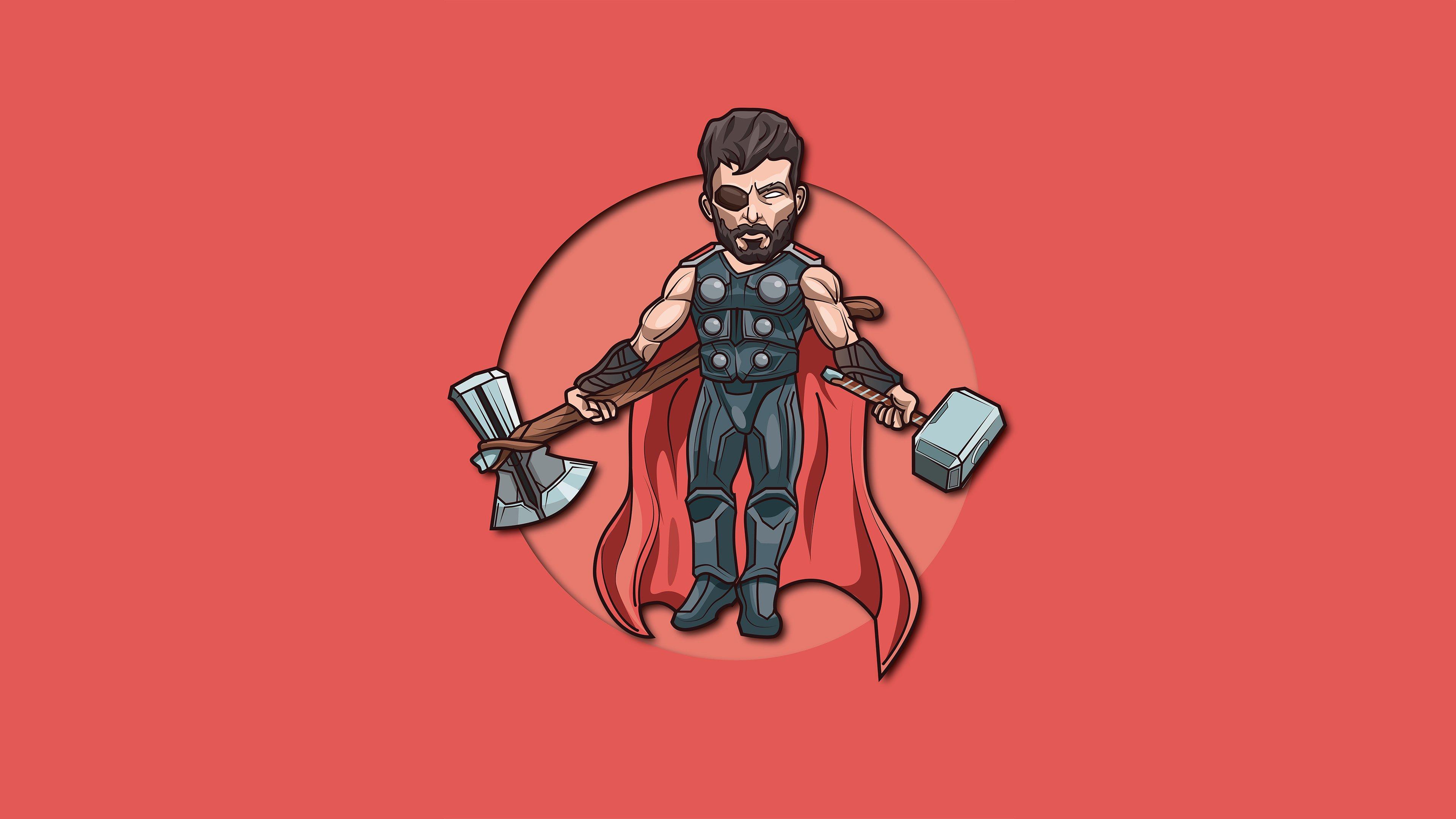 Fondos de pantalla Thor Dios del rayo ilustración minimalista